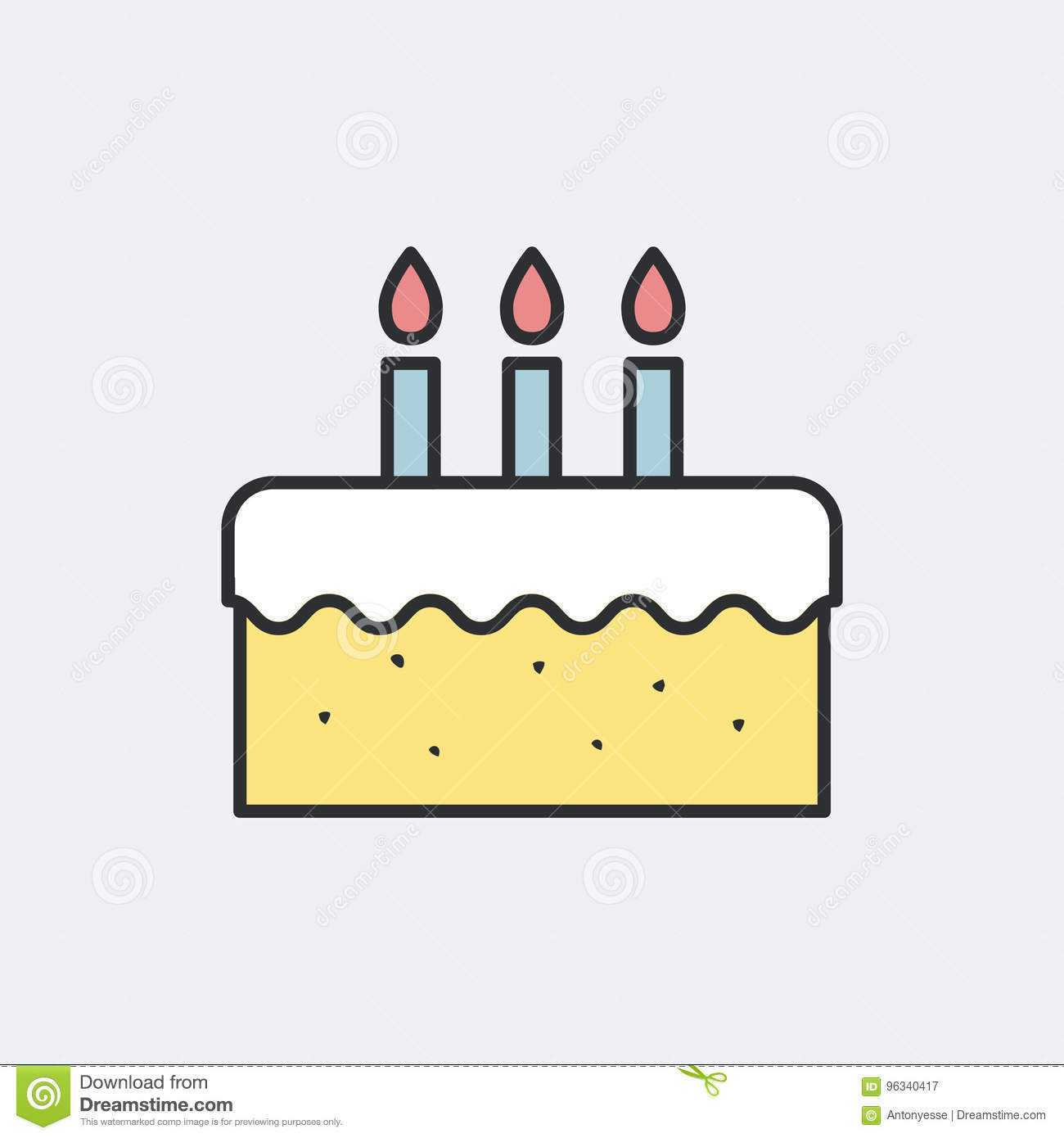 Birthday Cake Symbol Concept Stock Vector Illustration of holiday