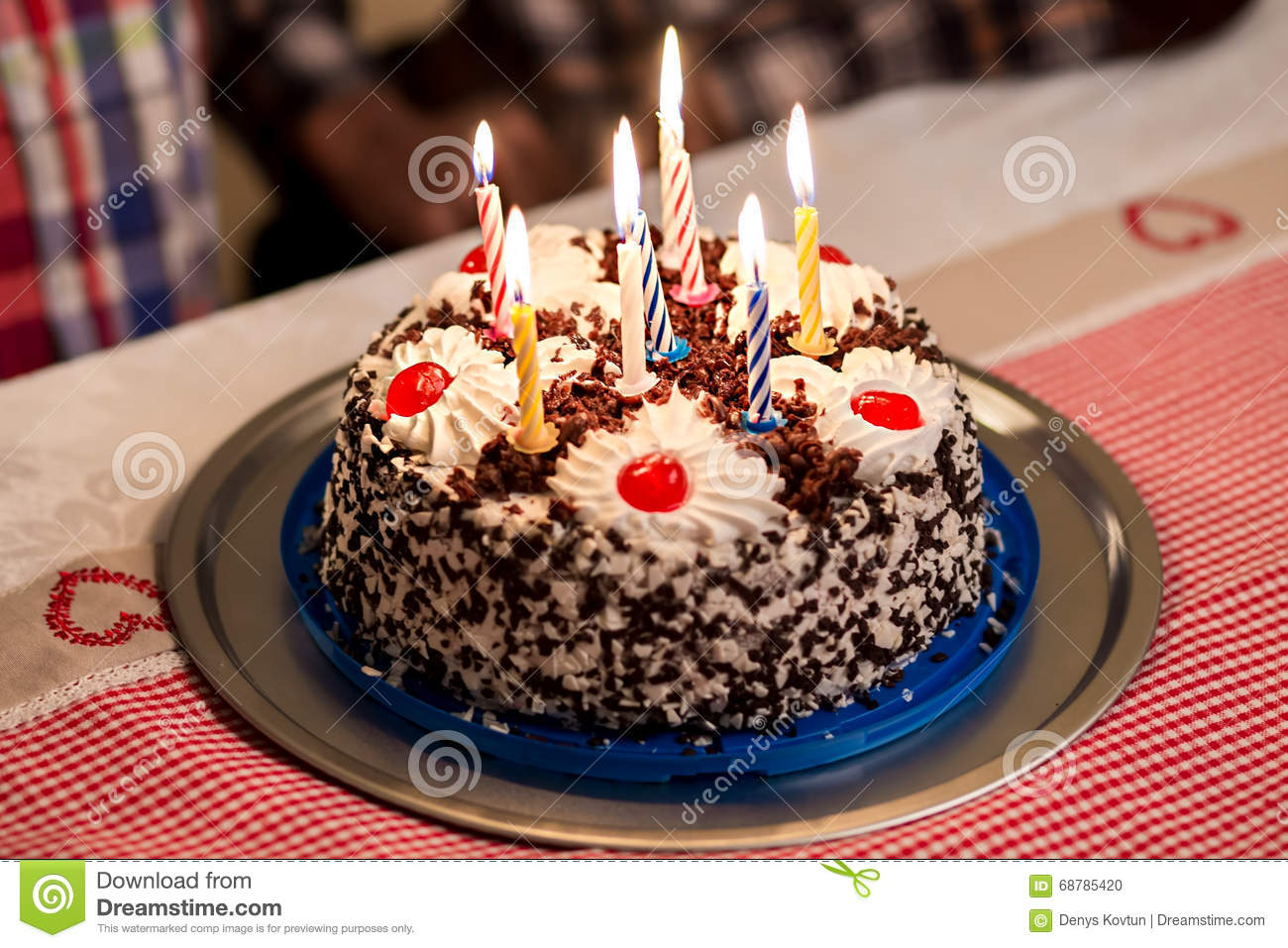 Birthday Cake On The Table Stock Photo Image Of Filling Food
