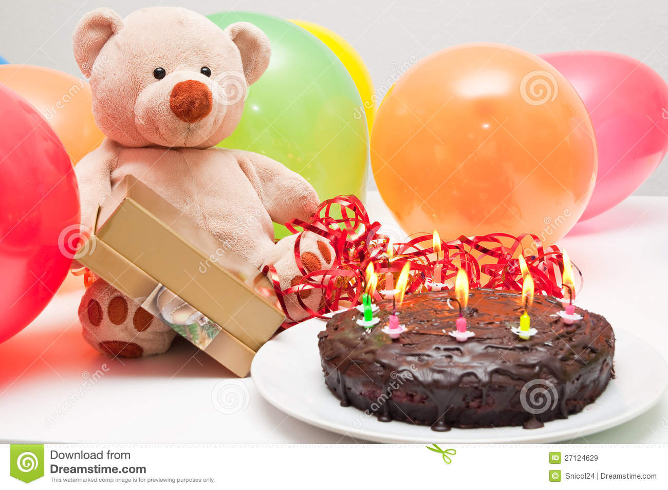 Birthday Cake And Teddy Bear Stock Image - Image: 27124629