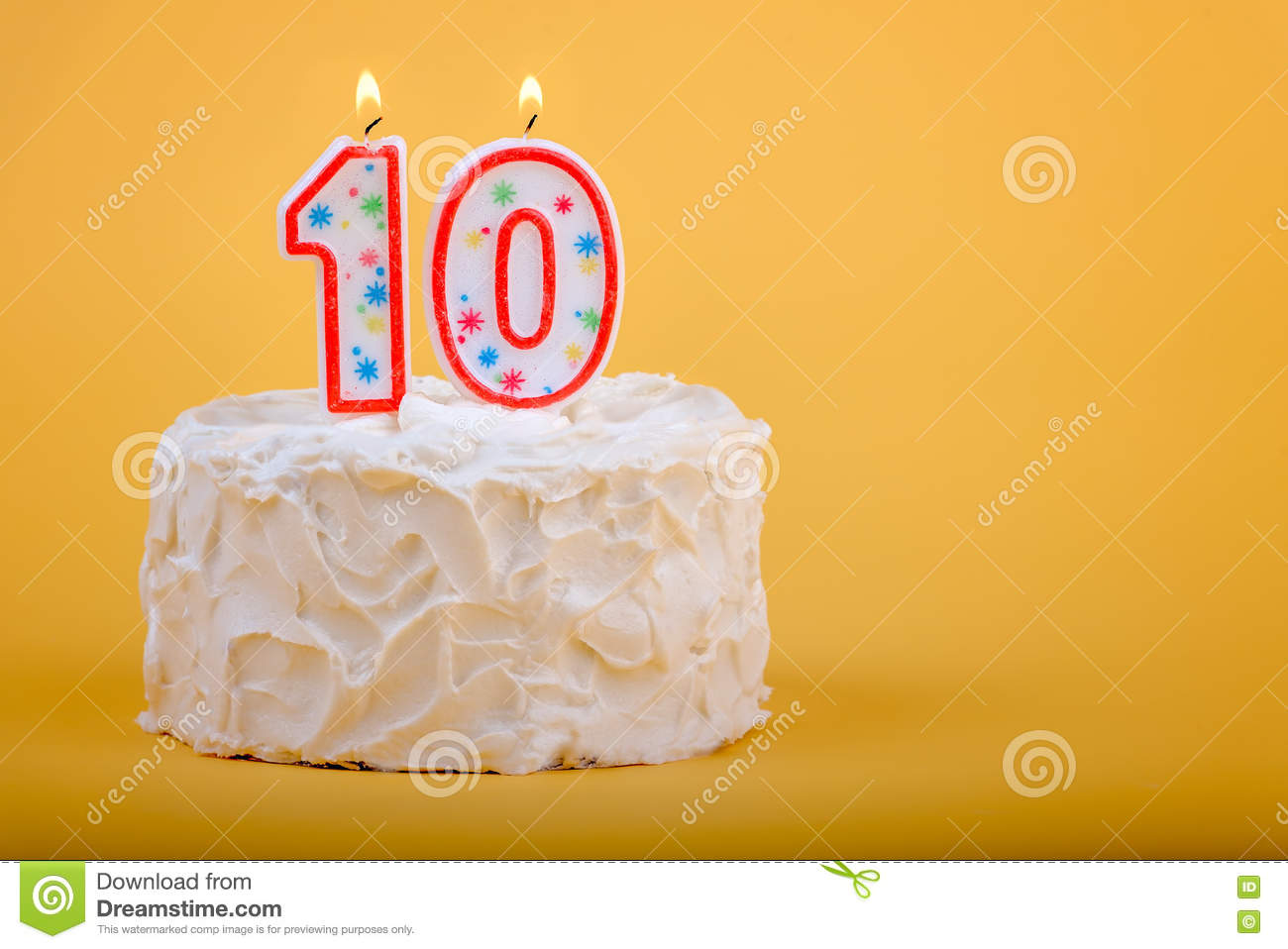 Birthday Cake With Ten On It In Candles Stock Photo Image Of