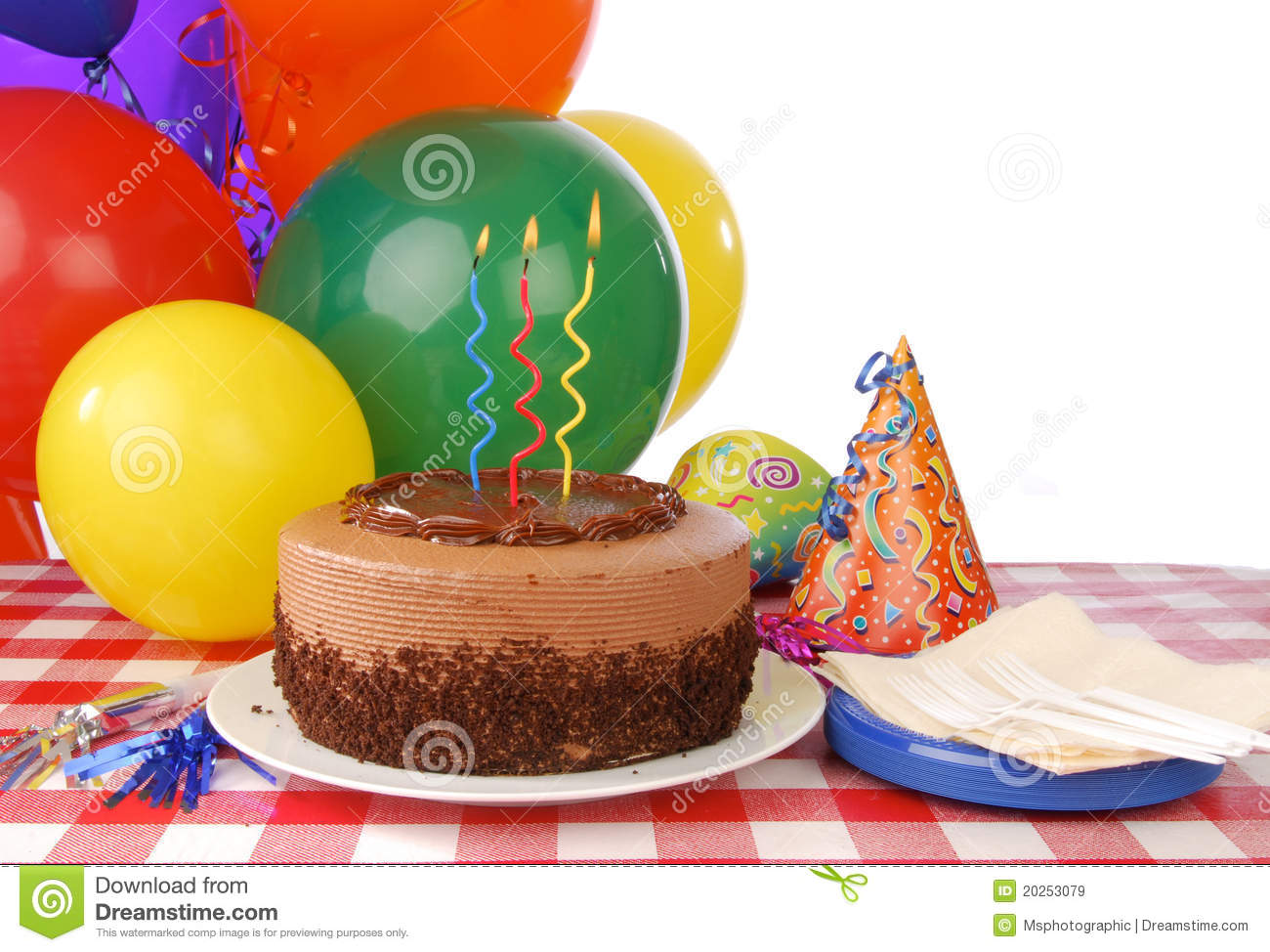 Birthday Cake With Three Candles Stock Image Image Of Ribbon