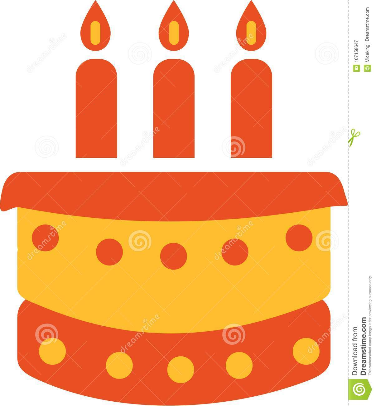 Birthday Cake With Three Candles Stock Vector Illustration Of
