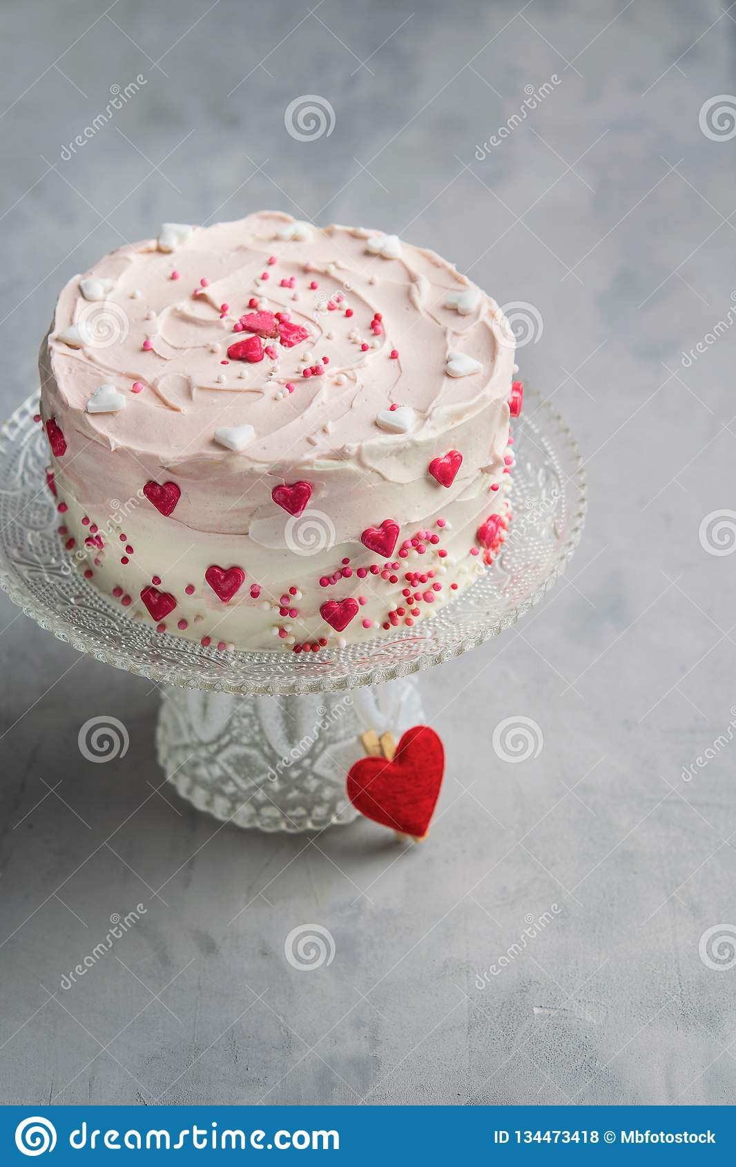 Phenomenal Birthday Cake For Valentine S Day With Pink Hearts And Colorful Funny Birthday Cards Online Fluifree Goldxyz