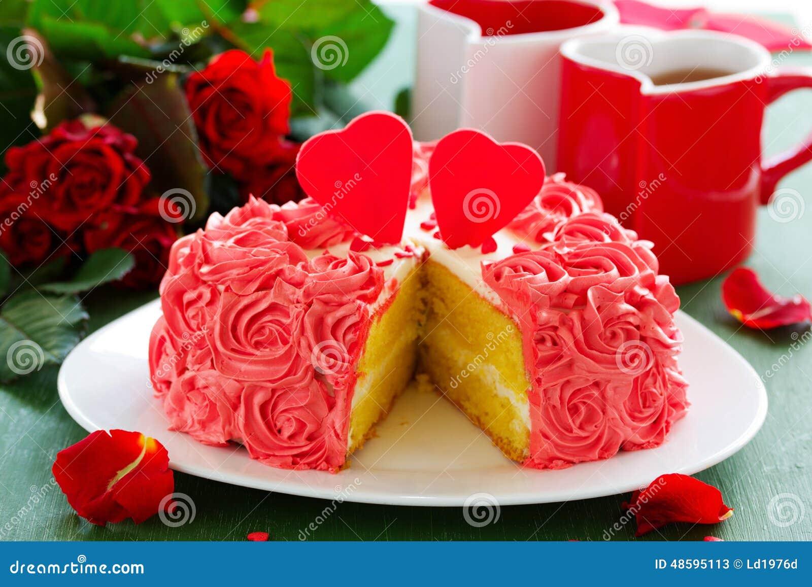 Birthday Cake For Valentines Day Stock Image Image Of Spray Love
