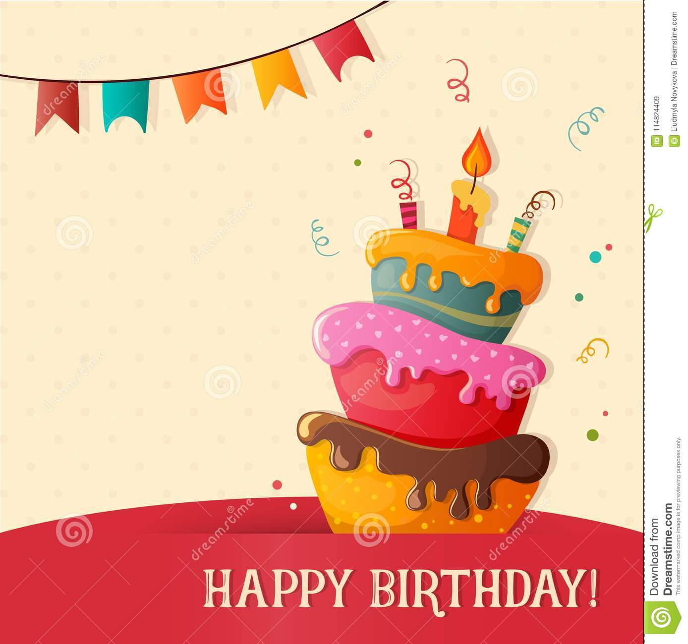 Marvelous Birthday Cake Vector Card With Cake Stock Vector Illustration Of Personalised Birthday Cards Paralily Jamesorg