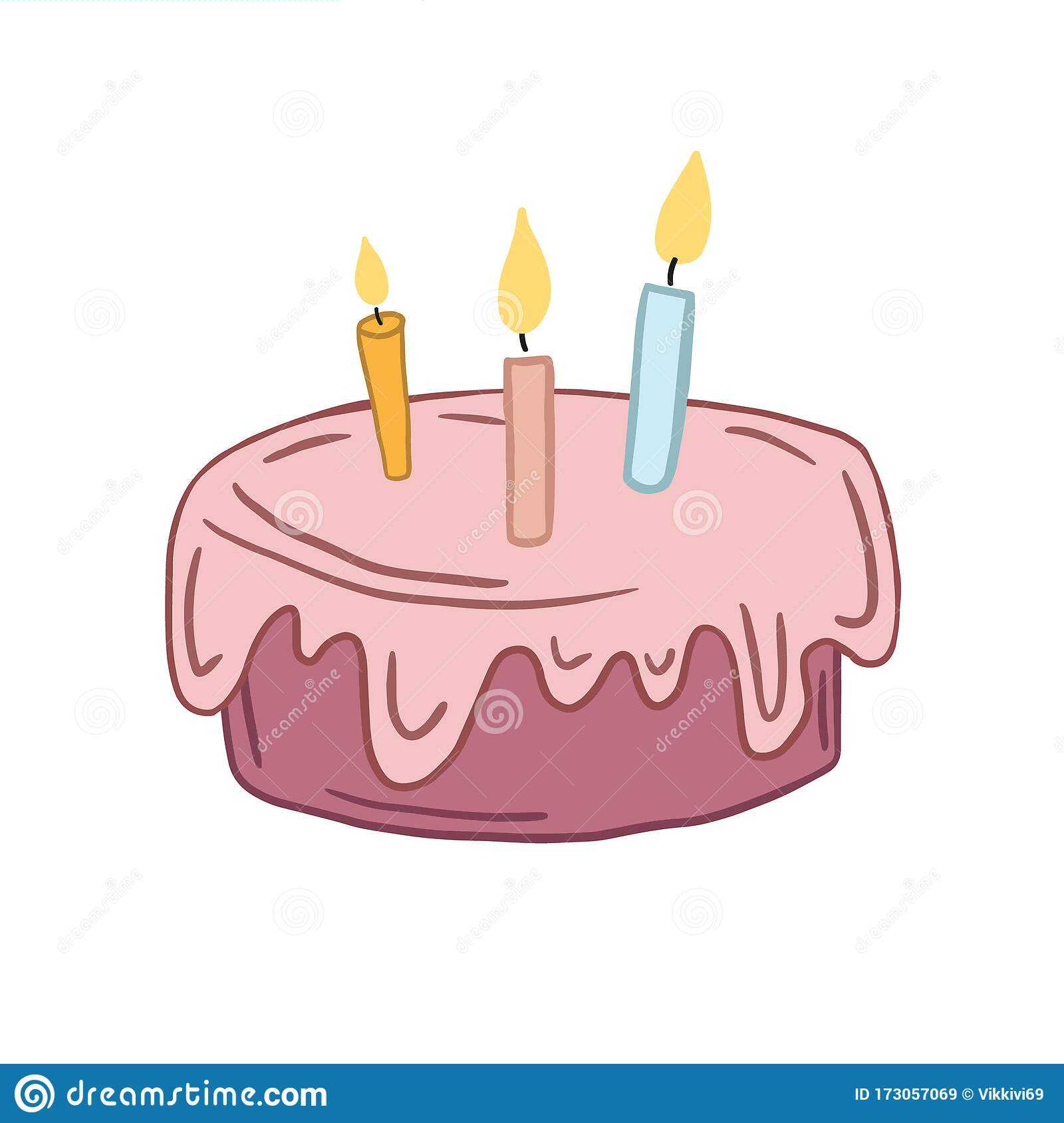 Groovy Birthday Cake Vector Color Illustration In Cartoon Style Flat Personalised Birthday Cards Cominlily Jamesorg