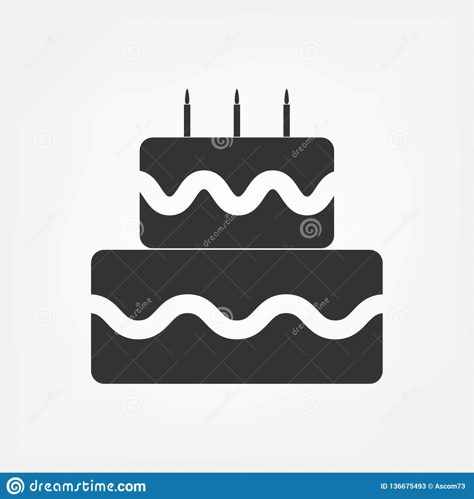 Birthday Cake Vector Icon Celebration With Three Candles For Graphic Design Logo Web