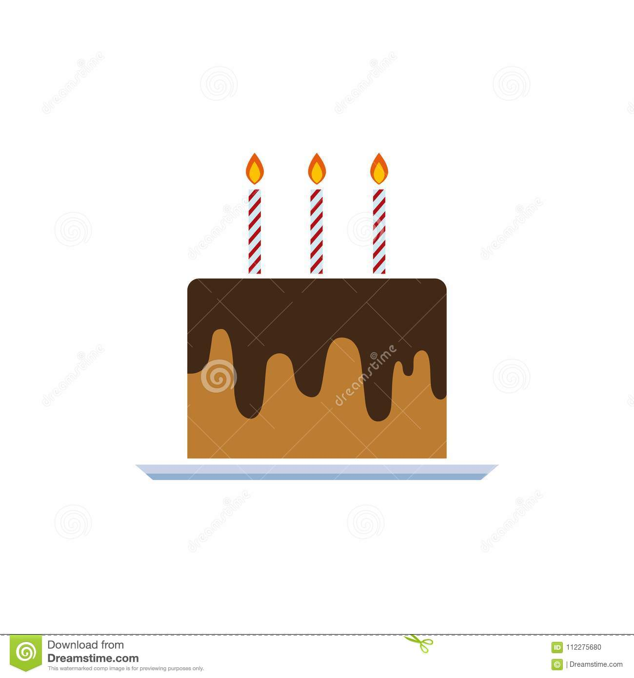 Birthday Cake Vector Illustration With Candles Cream Pie On White