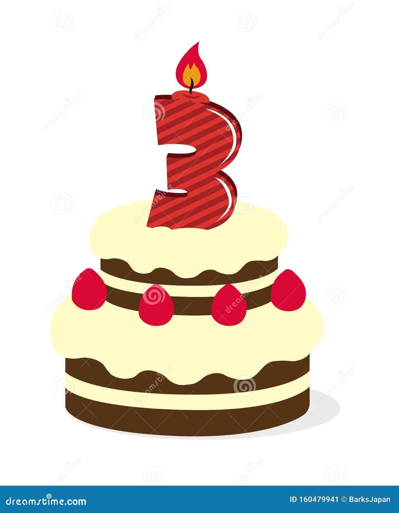 Superb Birthday Cake Illustration 3 Years Old Stock Vector Birthday Cards Printable Inklcafe Filternl