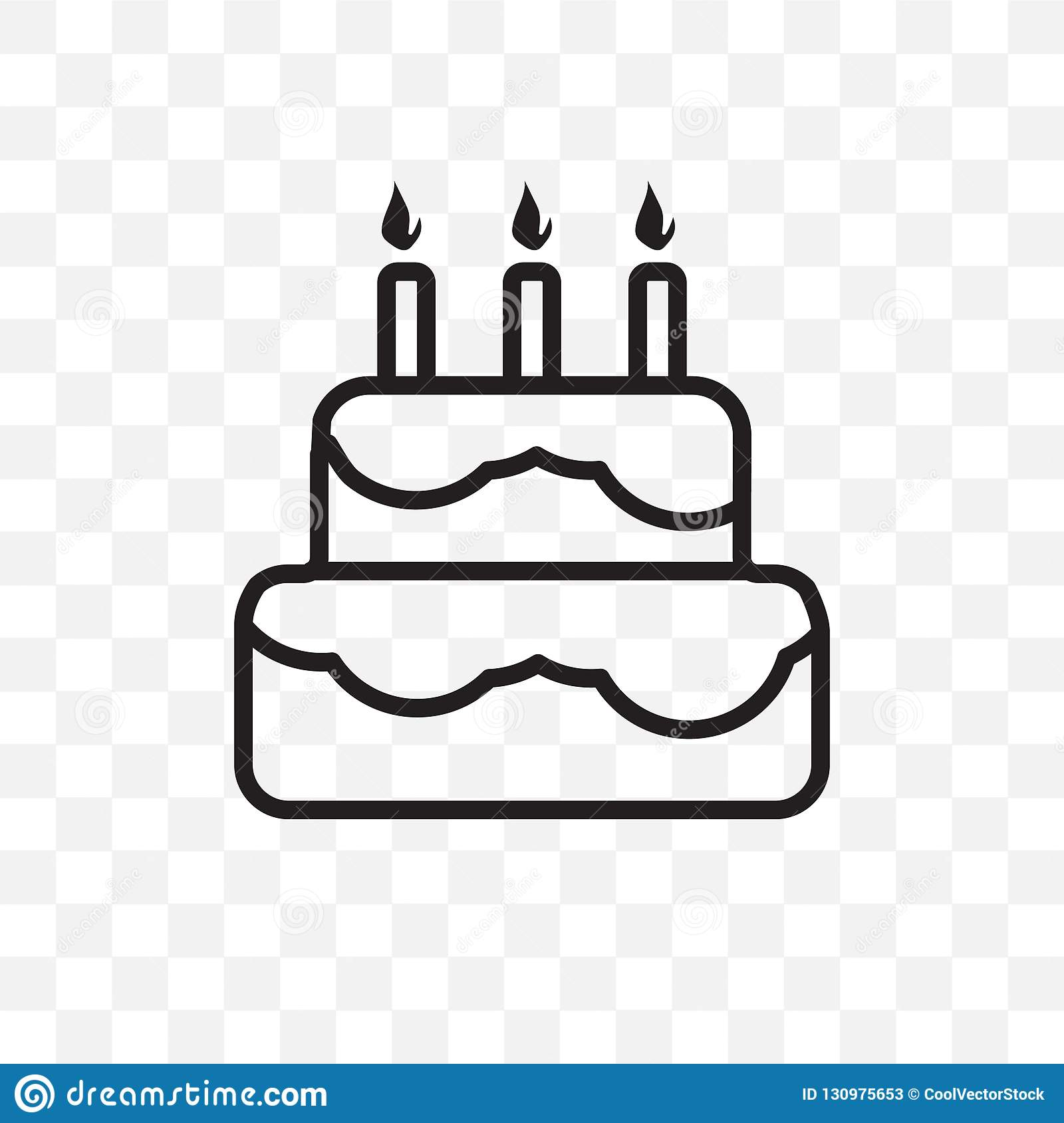 Birthday Cake Vector Linear Icon Isolated On Transparent Background