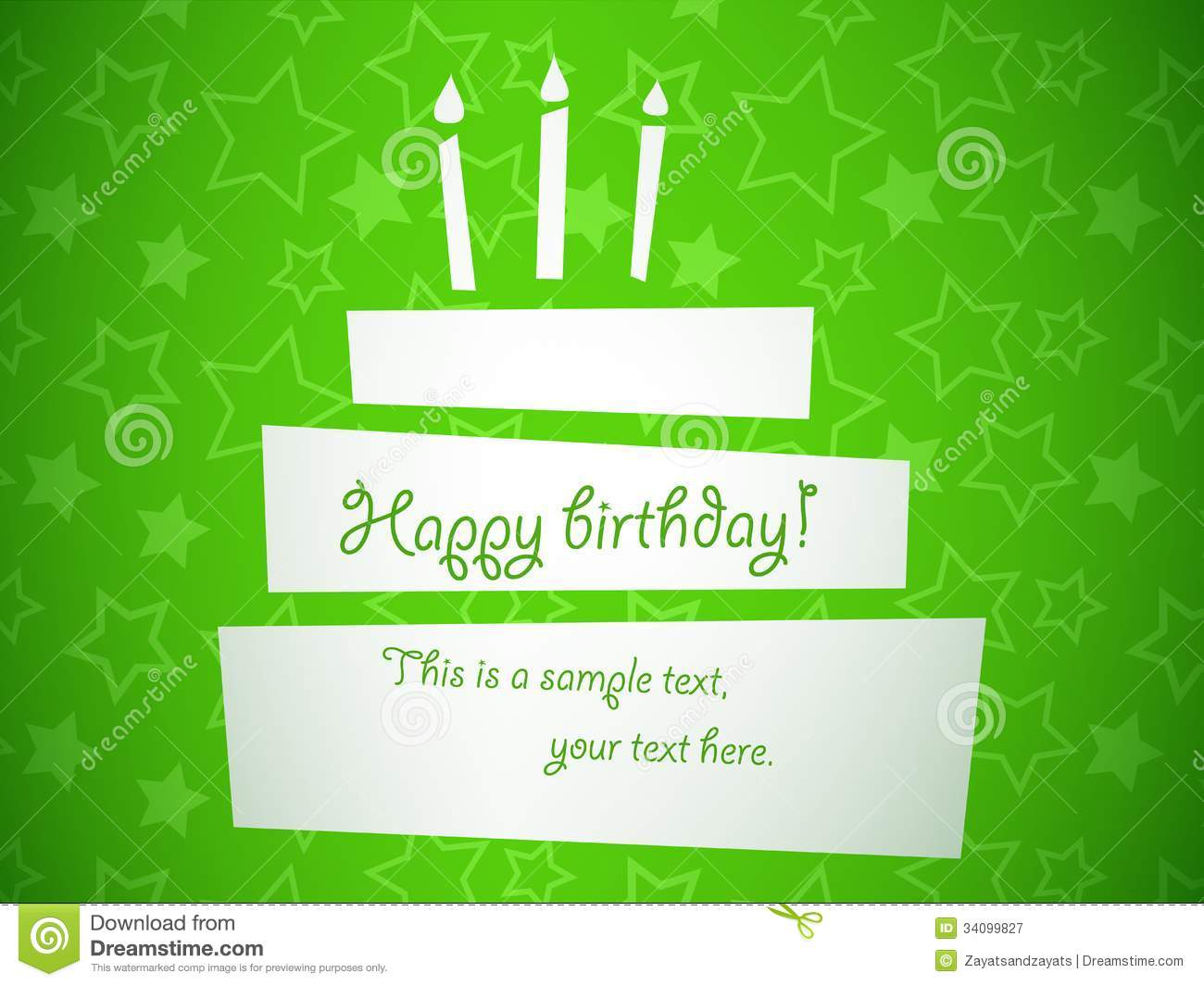Birthday Cake Royalty Free Photography Image 34099827 – Green Birthday Card