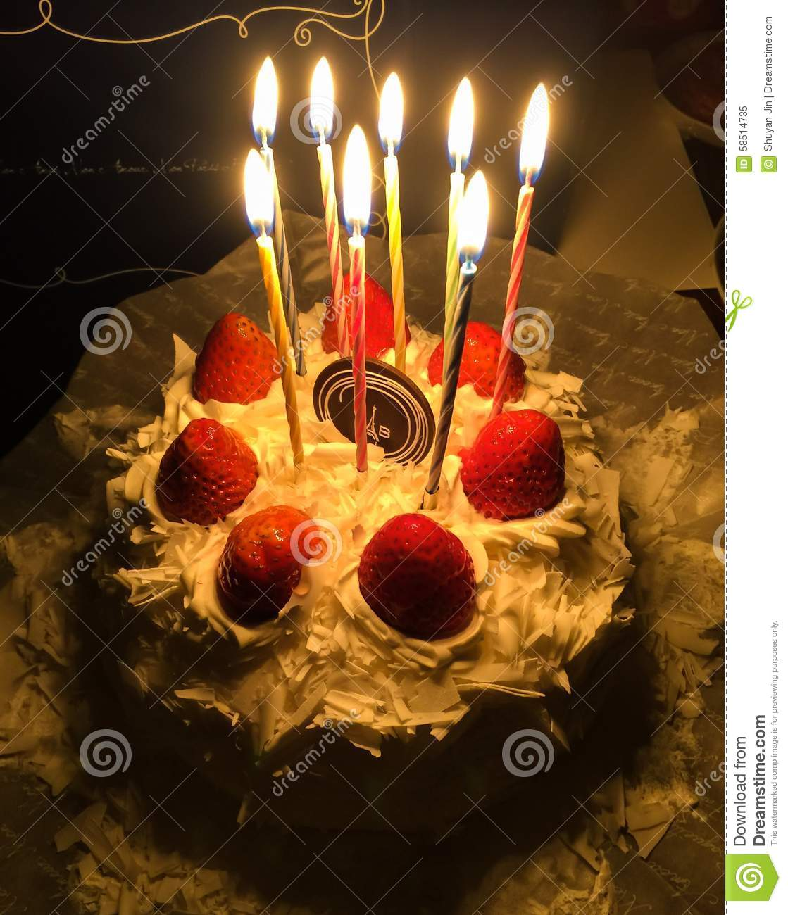Birthday Cake Stock Image Of Candle Celebrate