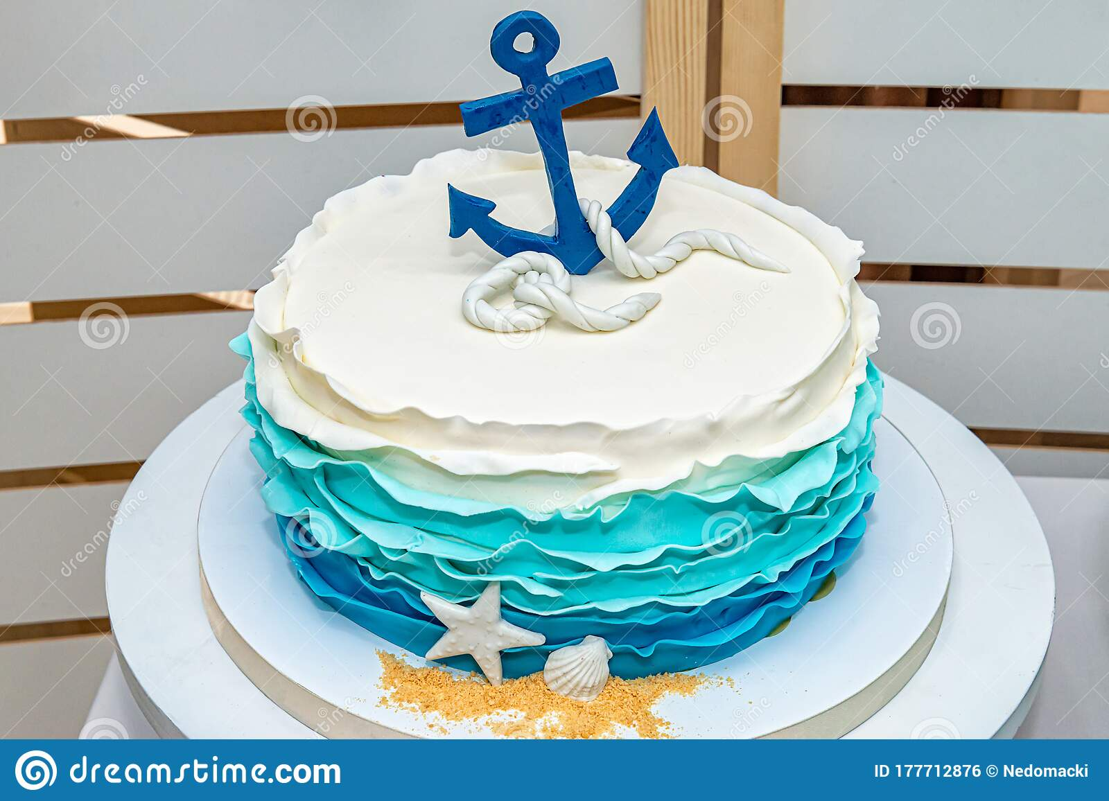 Surprising Birthday Cake Whit Blue Anchor Stock Photo Image Of Colored Funny Birthday Cards Online Alyptdamsfinfo