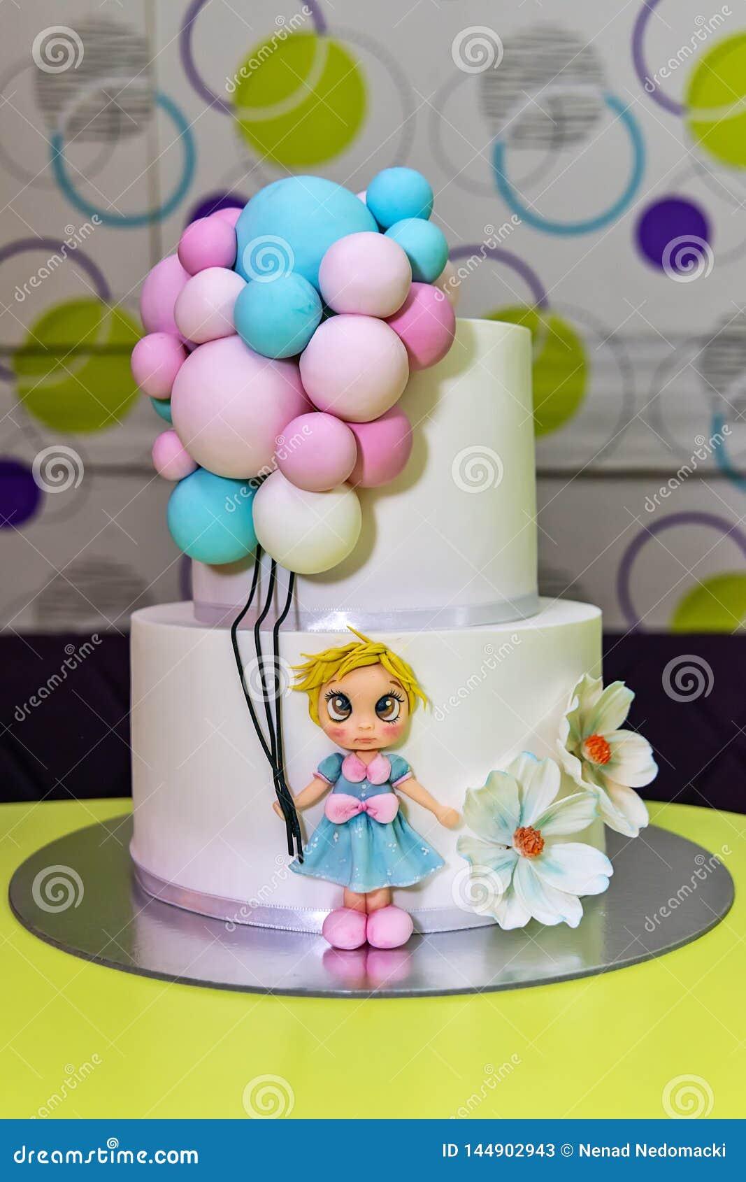 Enjoyable Birthday Cake Whit Little Girl And Balloons Stock Image Image Of Personalised Birthday Cards Xaembasilily Jamesorg