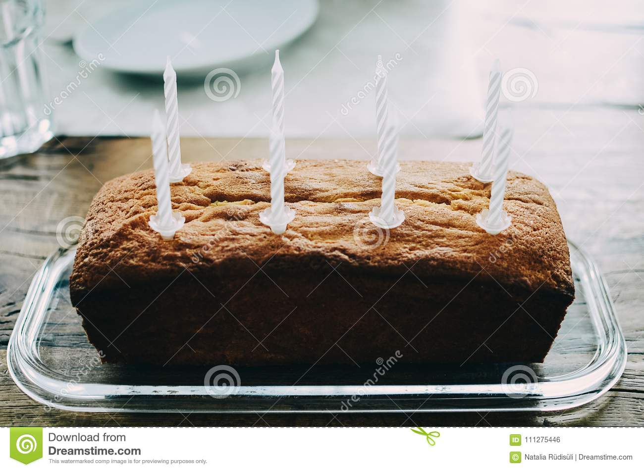 Birthday Cake Witt Eight Candles Stock Photo Image Of Chocolate