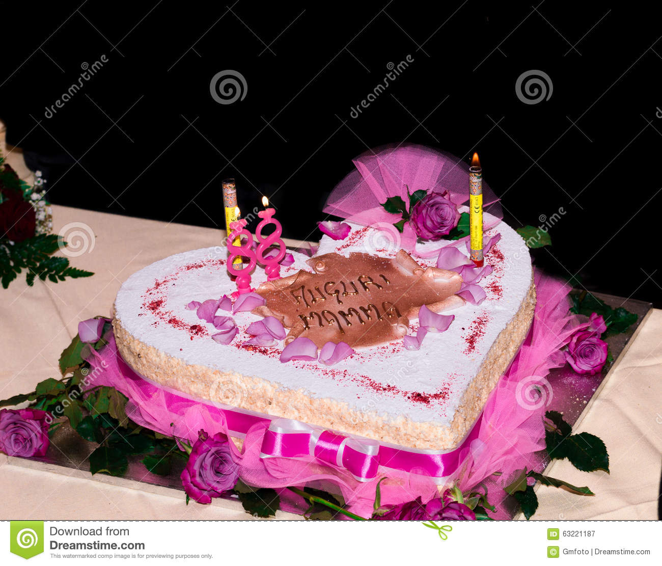 Birthday Cake With The Words Mom Wishes Stock Image Image of