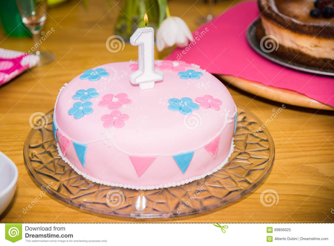 Birthday Cake 1 Year Stock Image Image Of Cakes Decorative 69856025