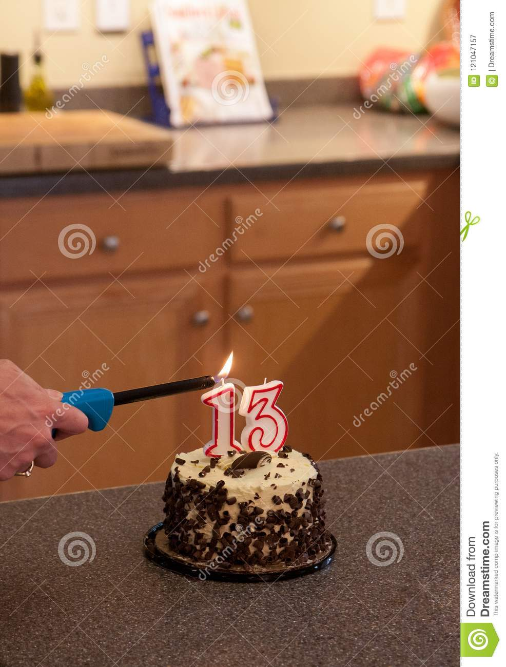 Birthday Cake For The 13 Year Old Stock Image Image Of Frosting