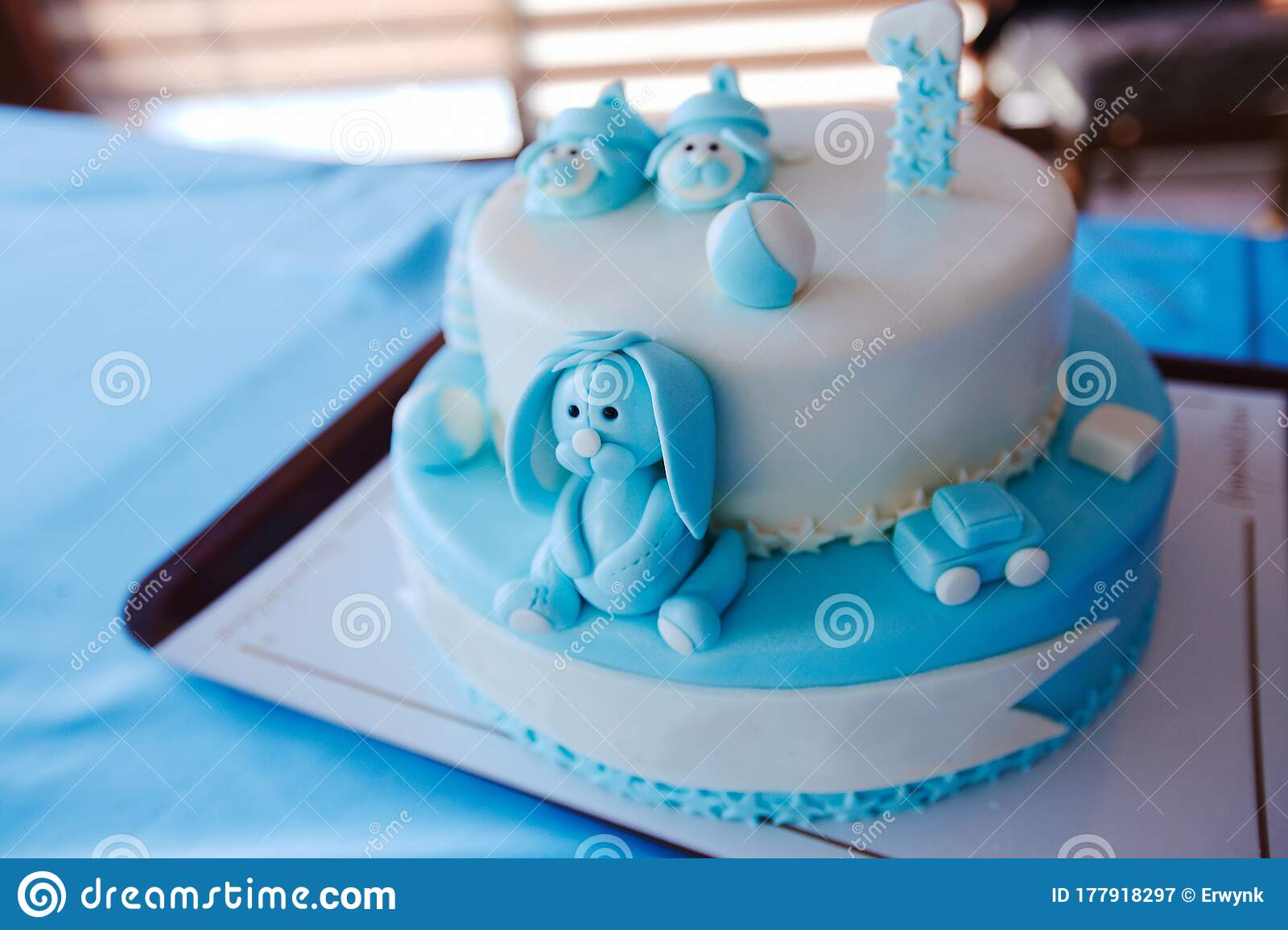 Birthday Cake For 1 Year Old Boy Stock Image Image Of Party Blue 177918297