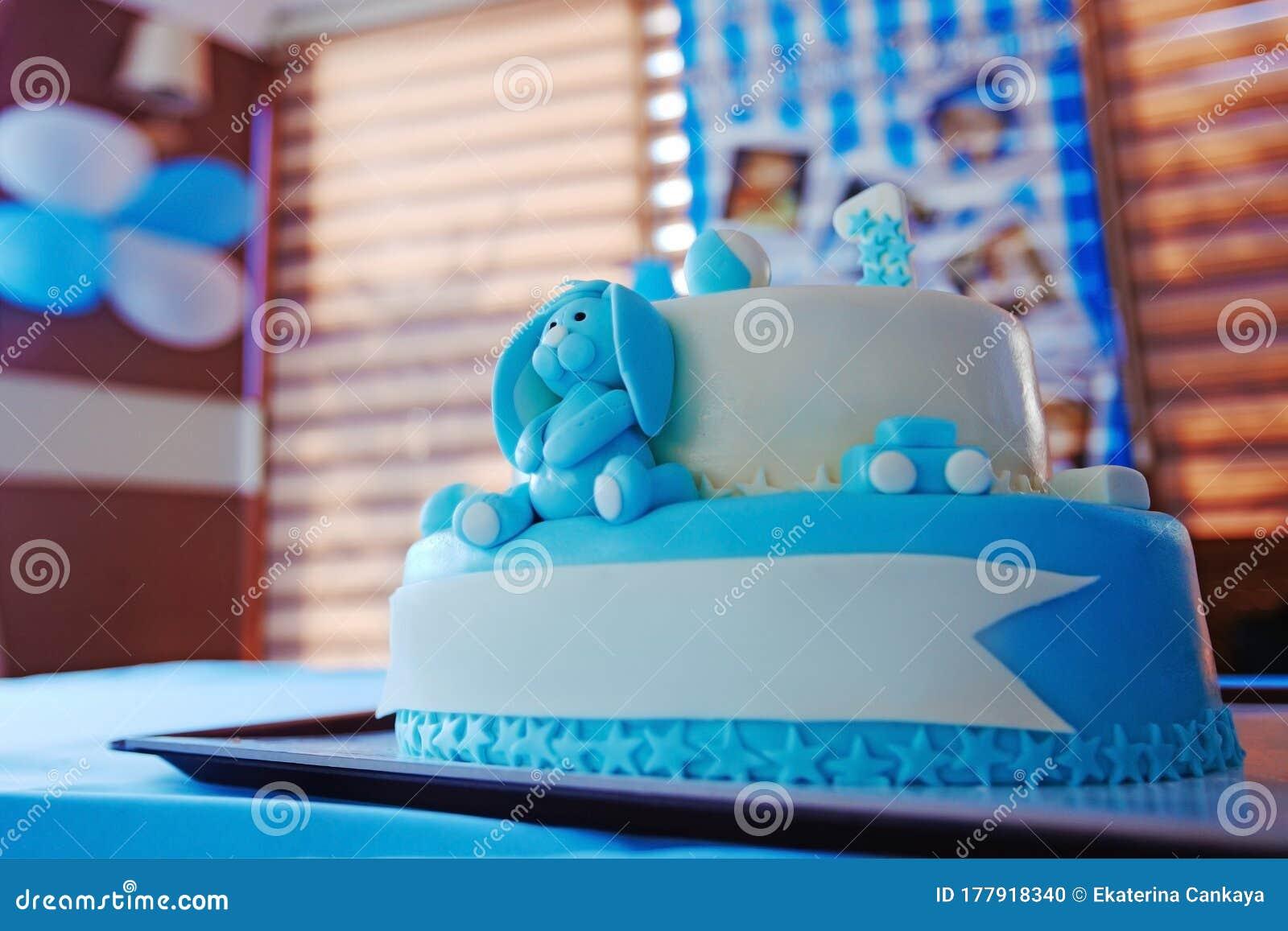 Birthday Cake For 1 Year Old Boy Stock Photo Image Of Celebration Candy 177918340
