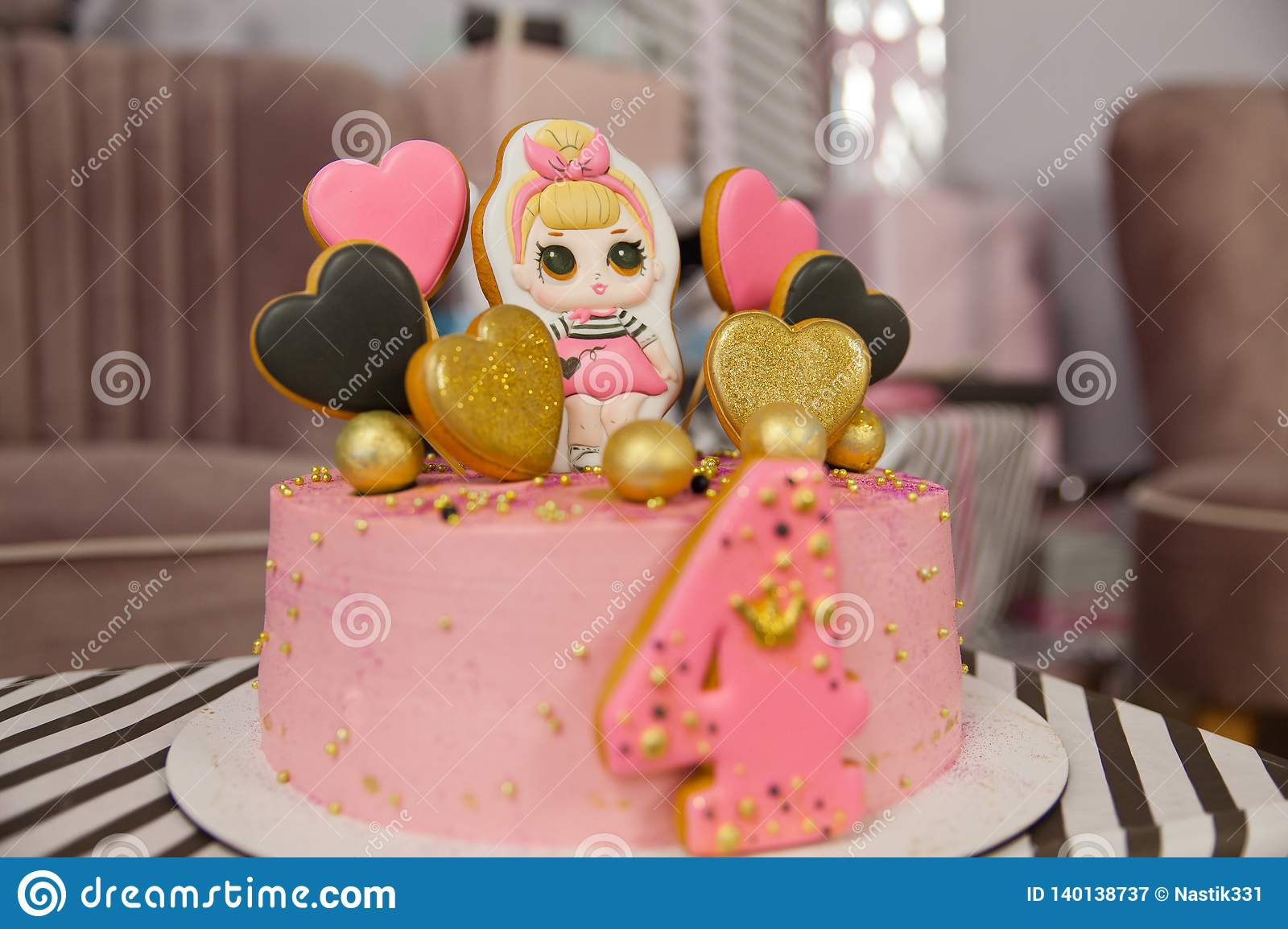 Awesome Birthday Cake For 4 Years Decorated With Gingerbread Hearts With Funny Birthday Cards Online Hetedamsfinfo
