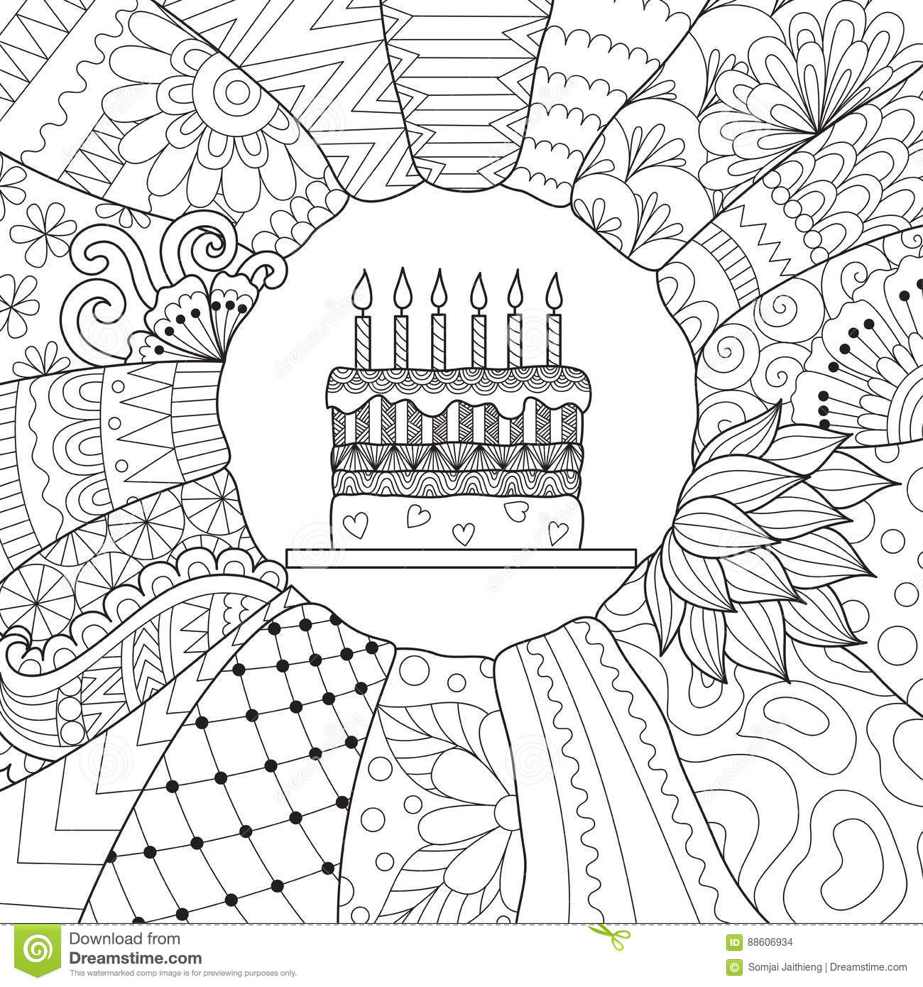 Birthday cake stock vector. Illustration of book, coloring ...