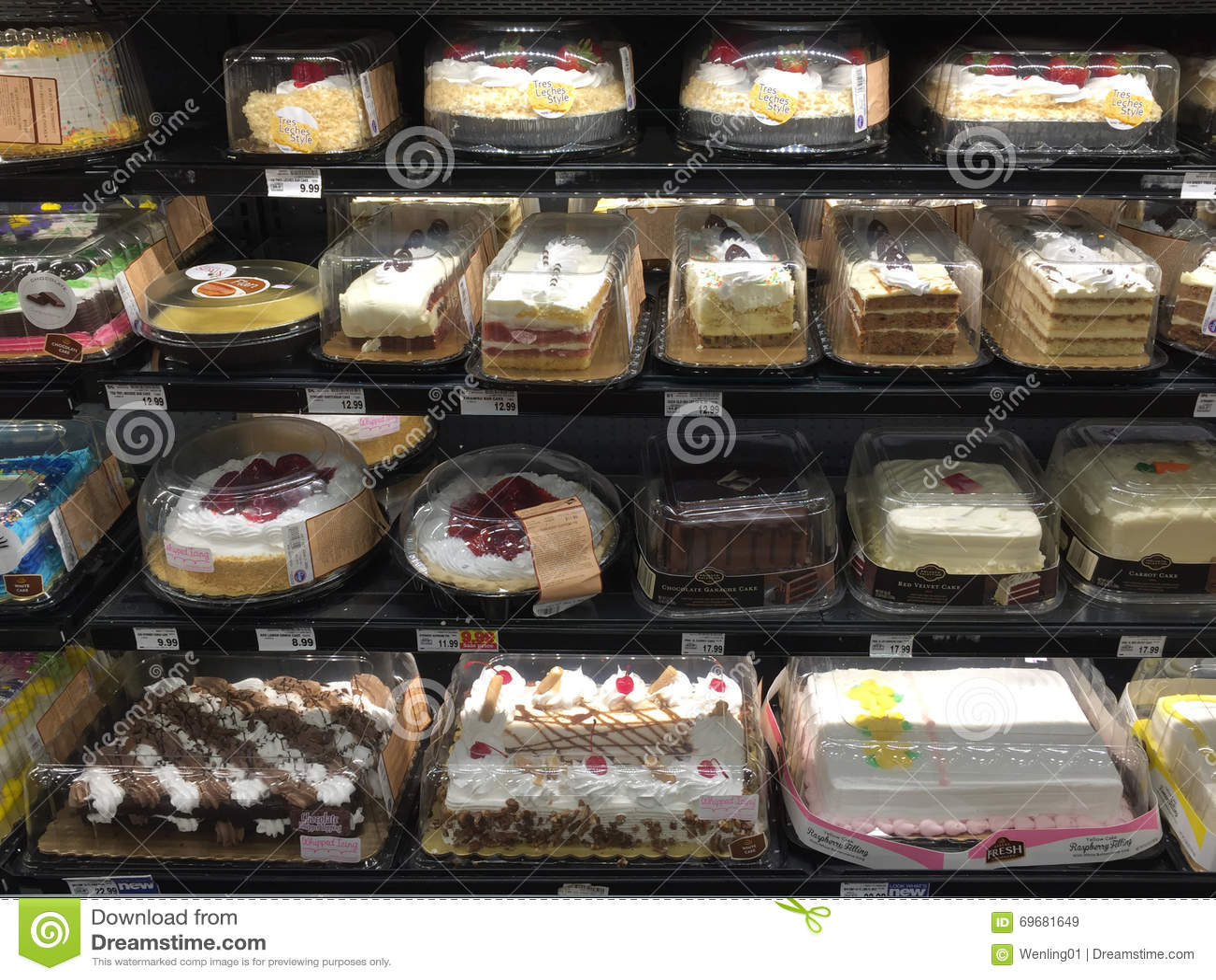 Fabulous Birthday Cakes In Refrigerator Selling Editorial Stock Image Funny Birthday Cards Online Hetedamsfinfo