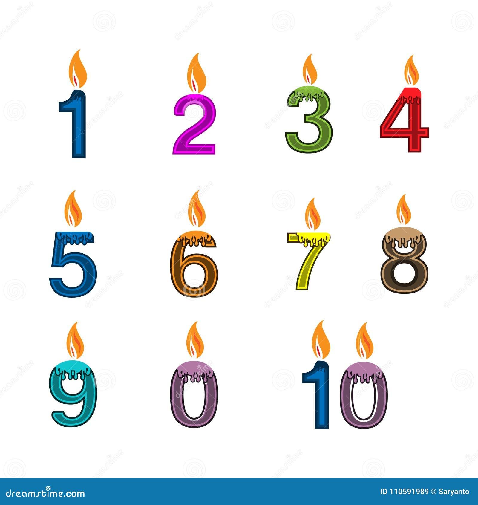 Birthday Candle 1 10 Icon Set