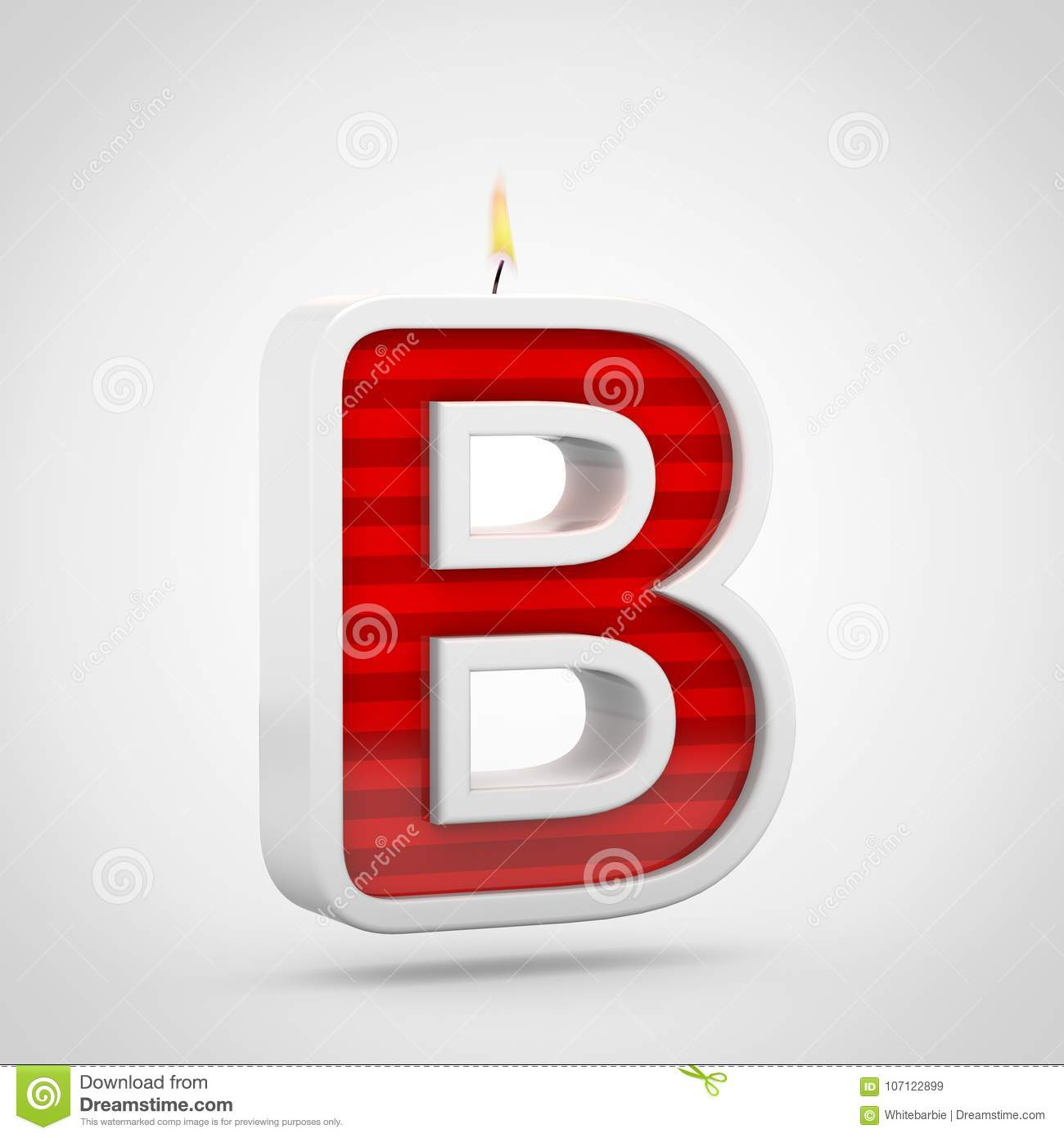 birthday candle letter b uppercase isolated on white background
