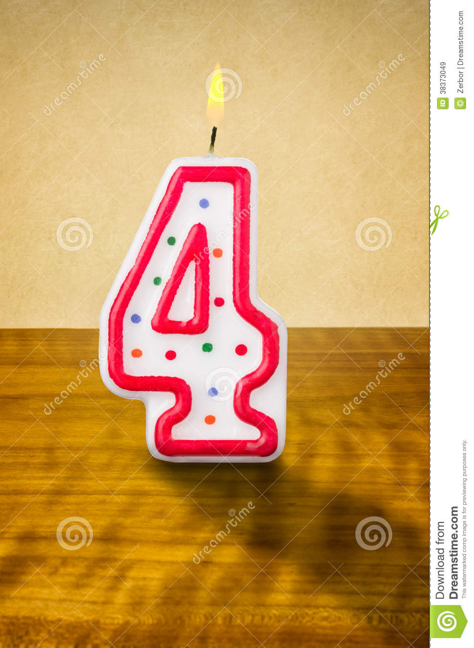Birthday Candle Number 4 Royalty Free Stock Images