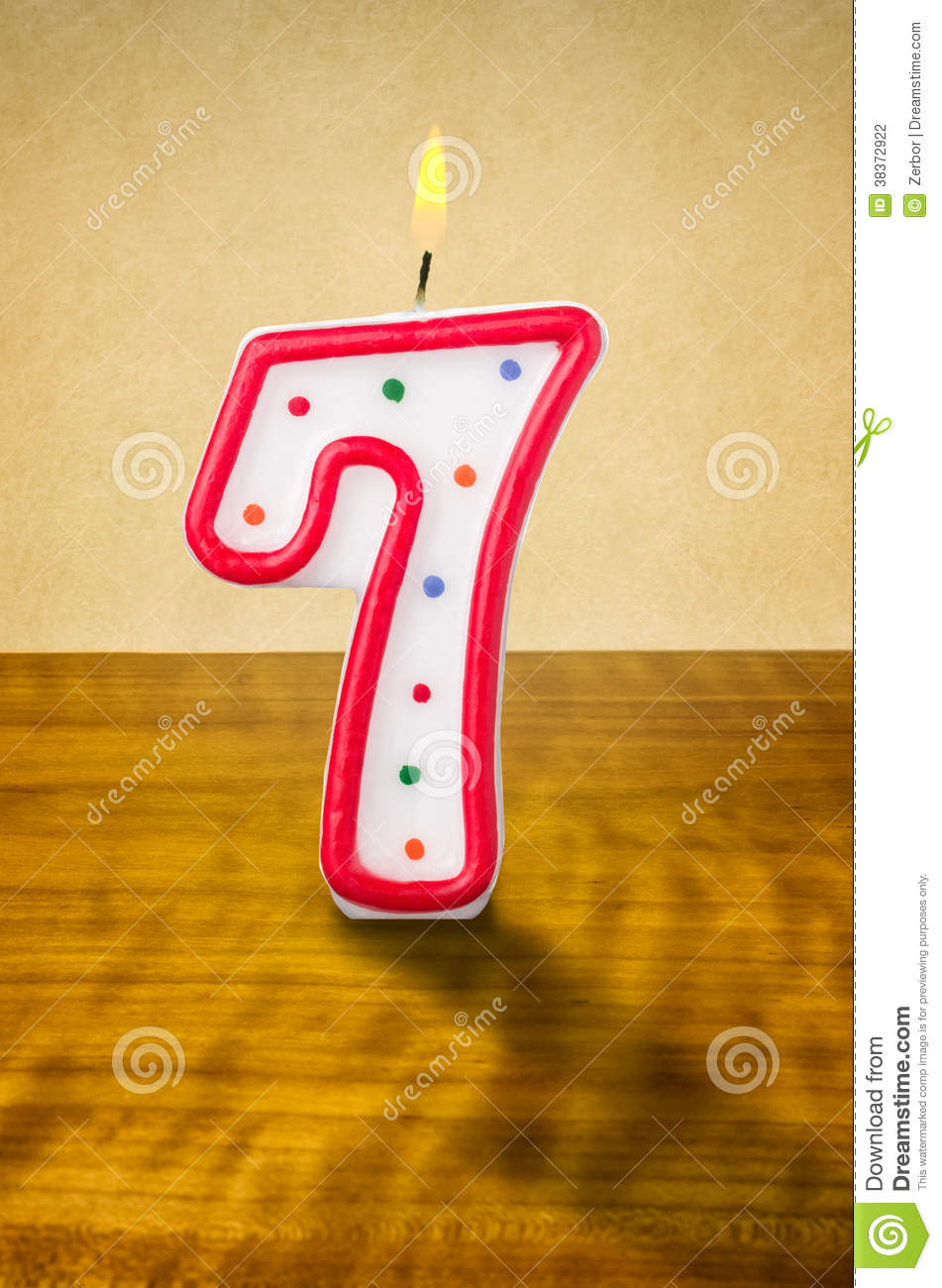 Birthday Candle Number 7 Stock Photography Image 38372922