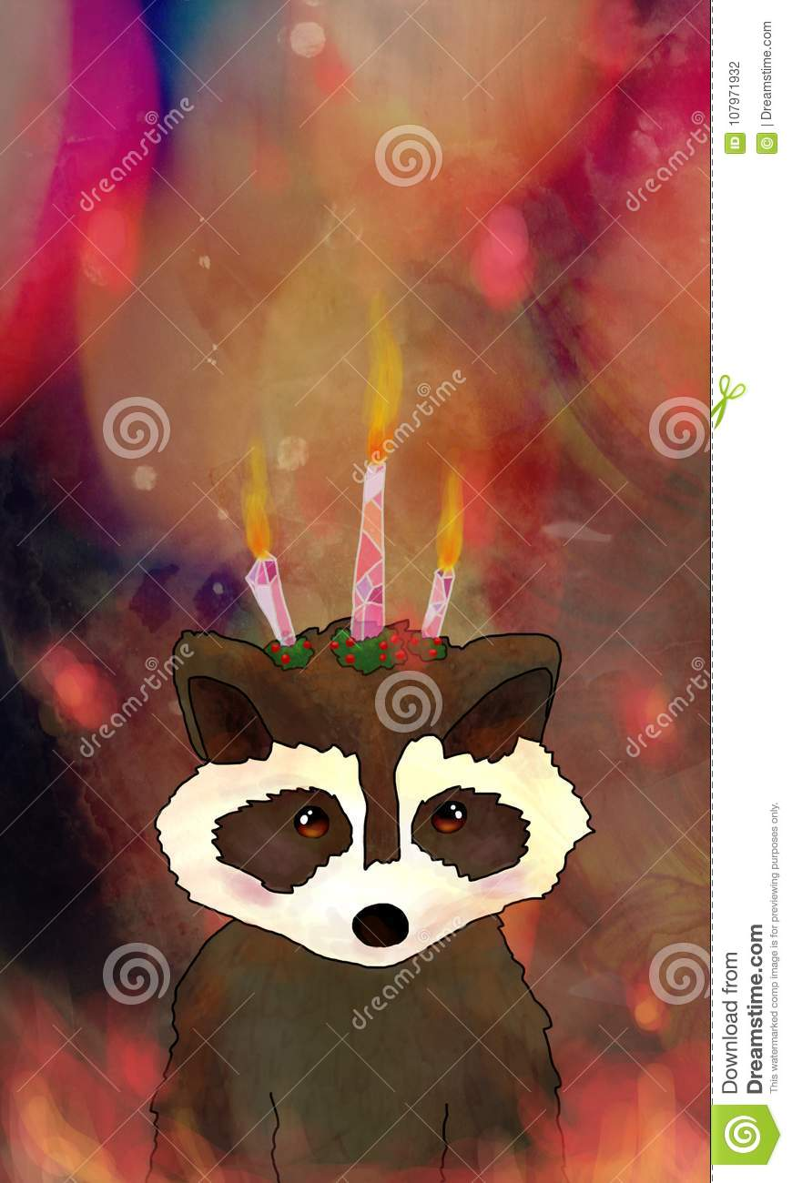 Birthday Candle Raccoon Stock Illustration Of Children