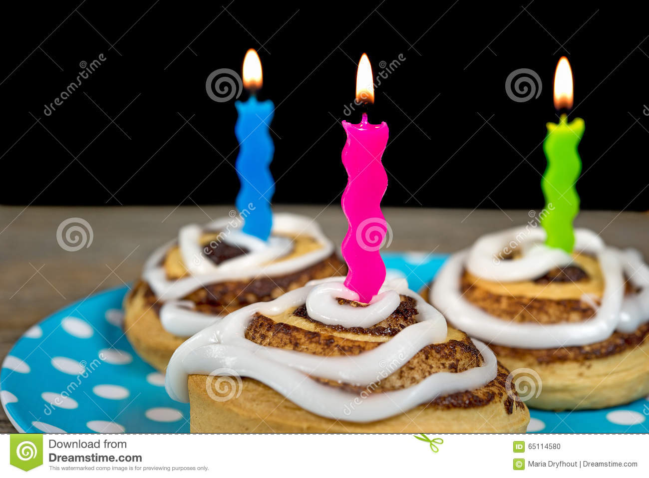 Birthday Candles In Cinnamon Rolls Stock Photo Image Of Pastry