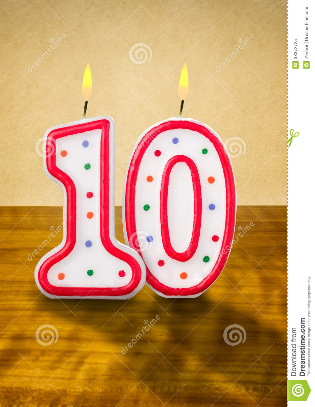 Birthday Candles Number 10 Royalty Free Stock Photo