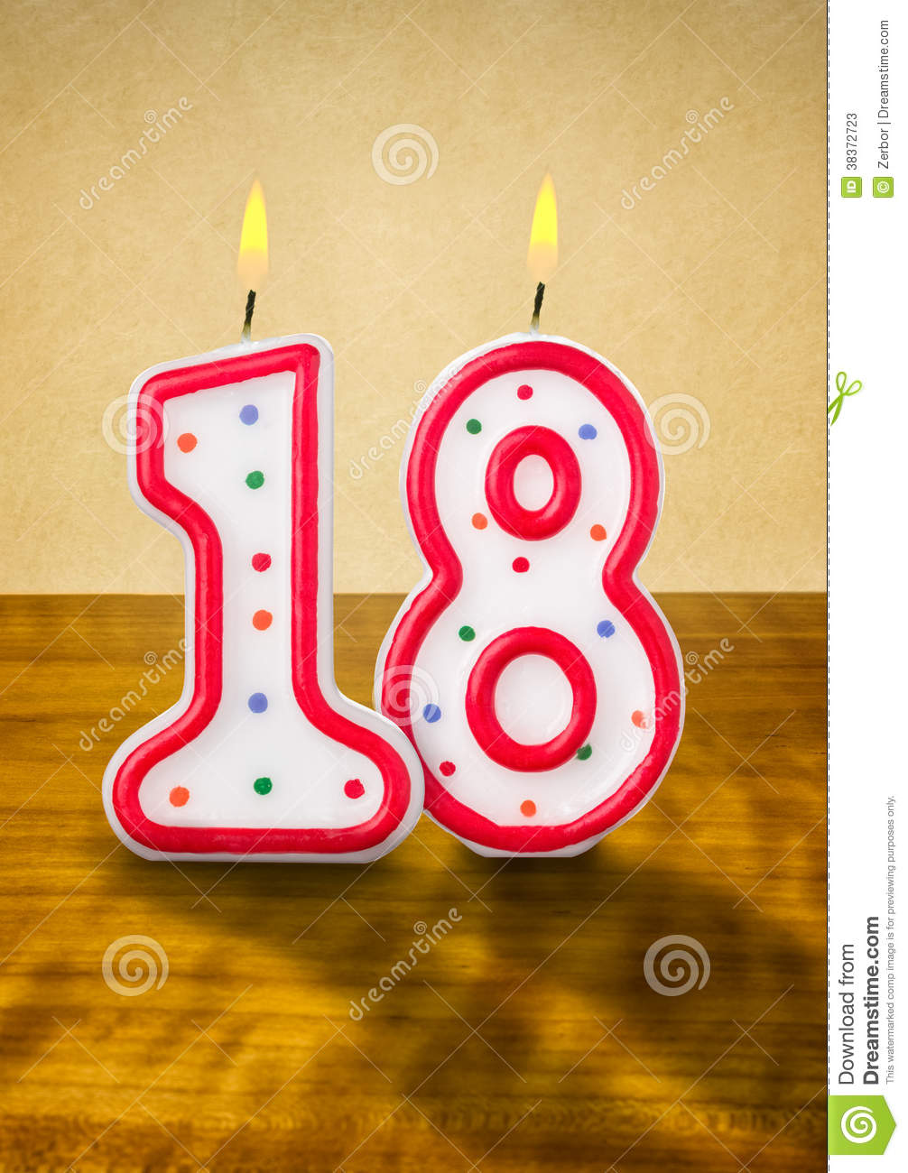 birthday candles number 18 stock photos
