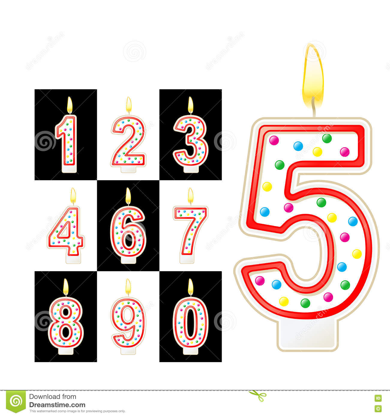 Birthday Candles Number Red