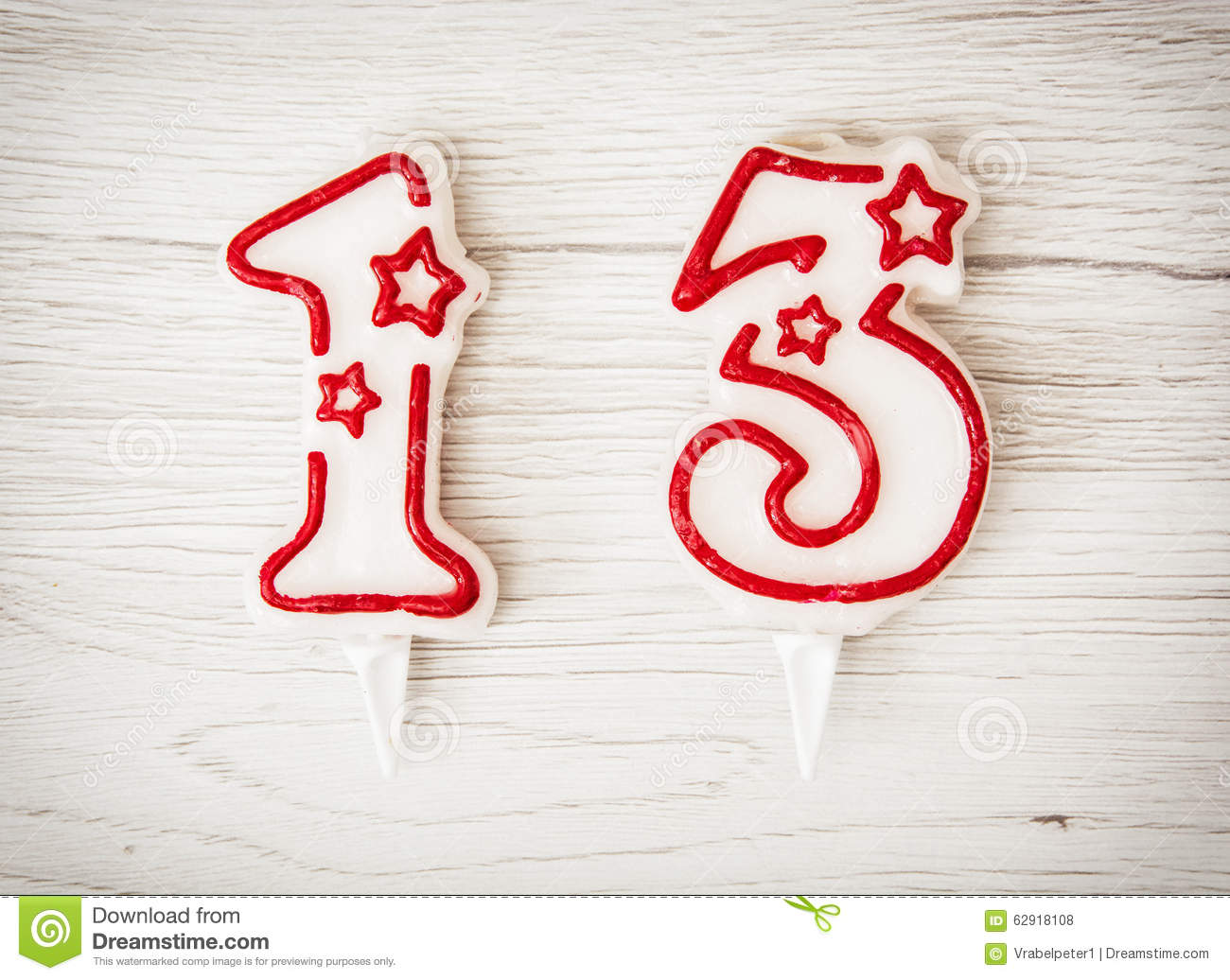 Birthday Candles Number 13 Stock Photo