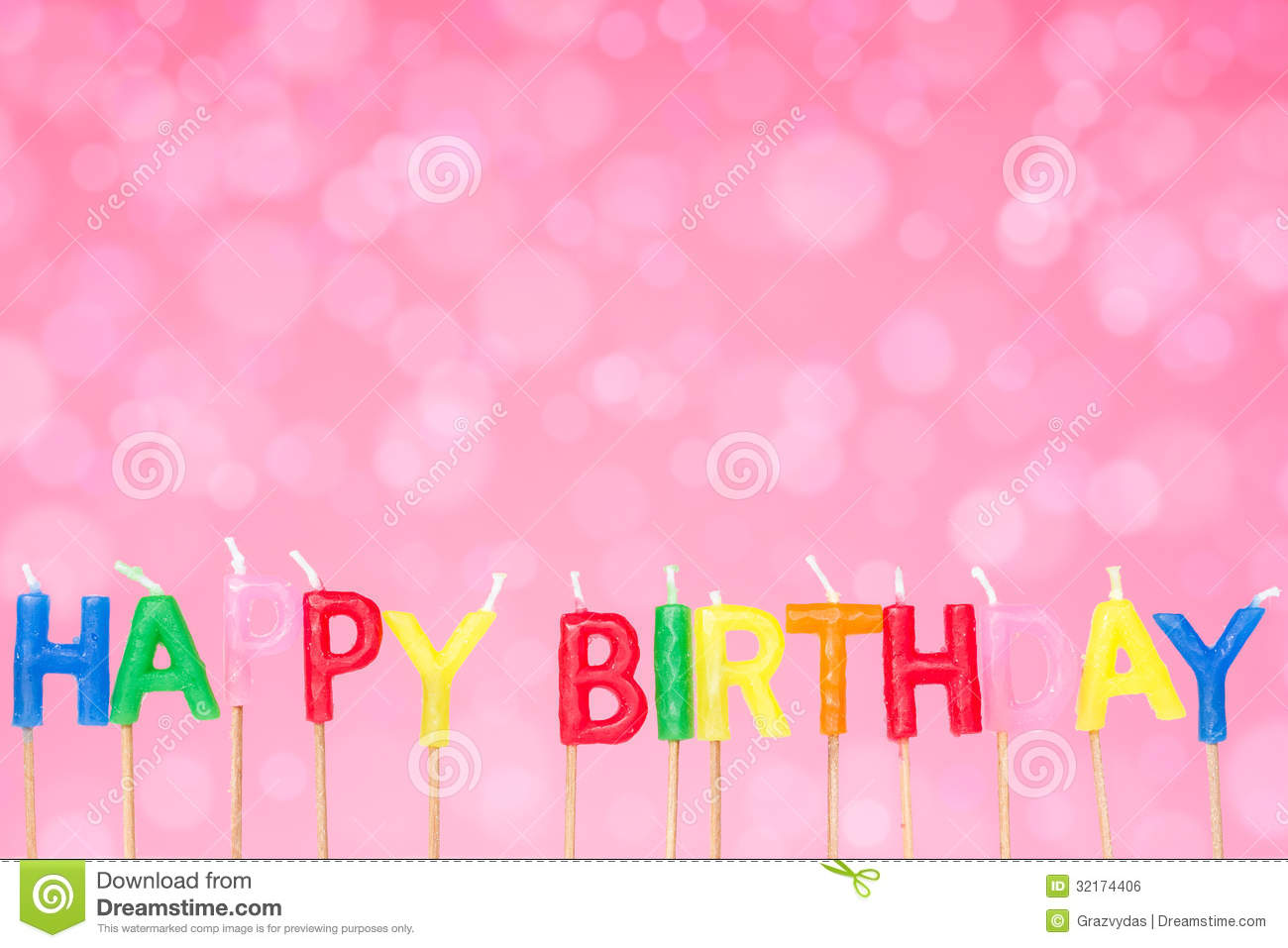 Birthday Candles On The Pink Background Stock Photo