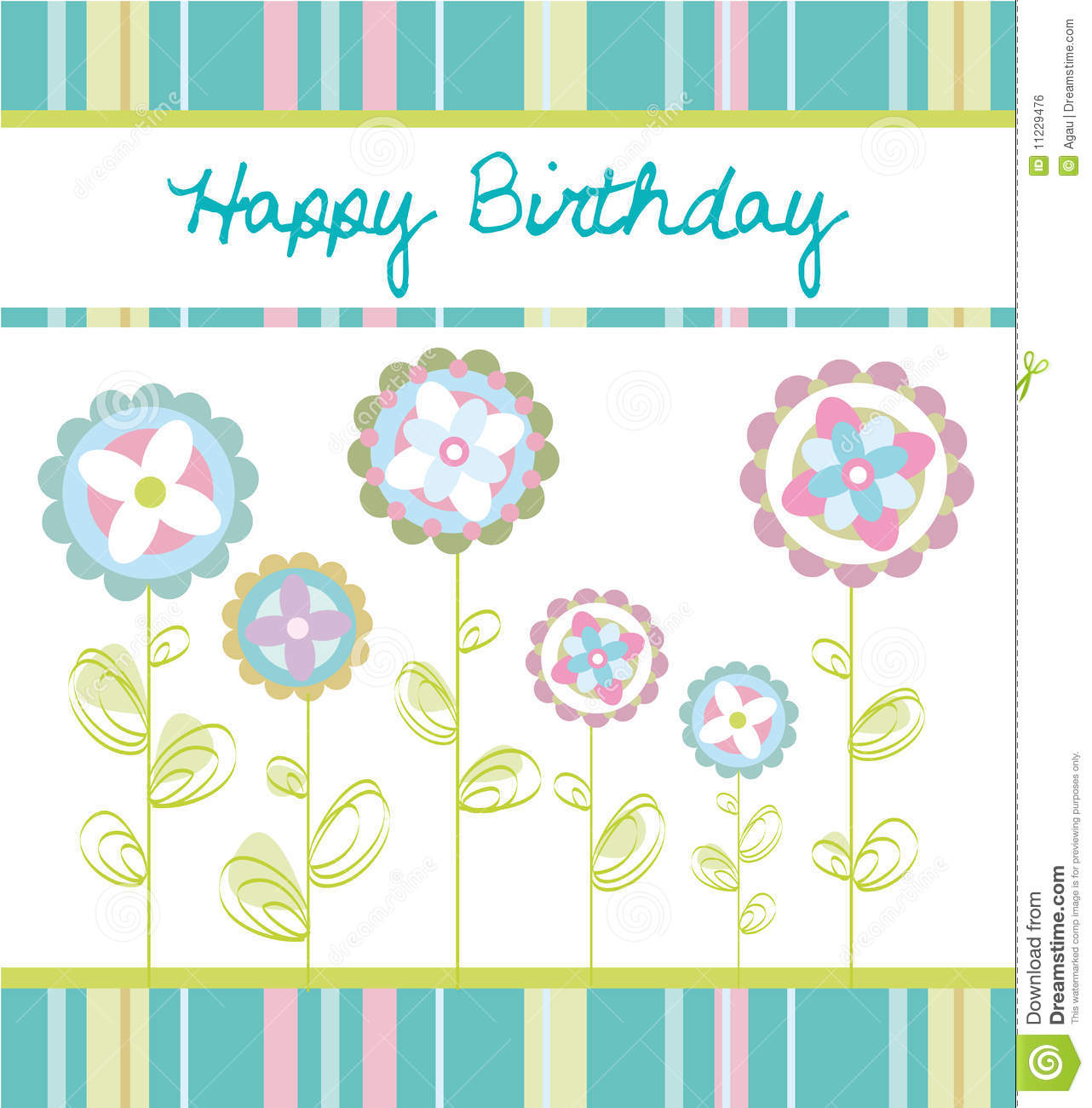 Birthday Card Stock Vector. Image Of Flowers, Love