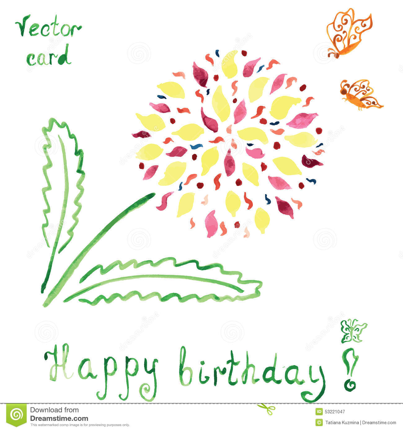 Birthday card with absctract bright flower and stock vector birthday butterfly card floral ccuart Image collections