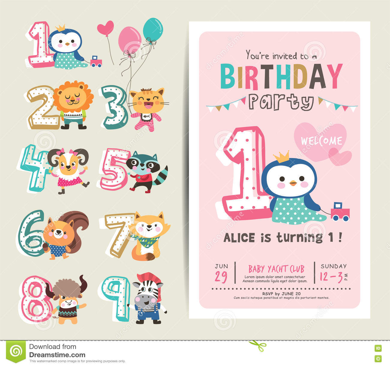 Birthday card stock vector illustration of little celebrations birthday anniversary numbers with cute animals birthday party invitation card template stopboris Image collections