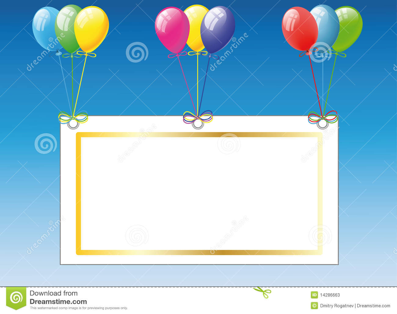 Birthday Card With Balloons Stock Photos - Image: 14286663