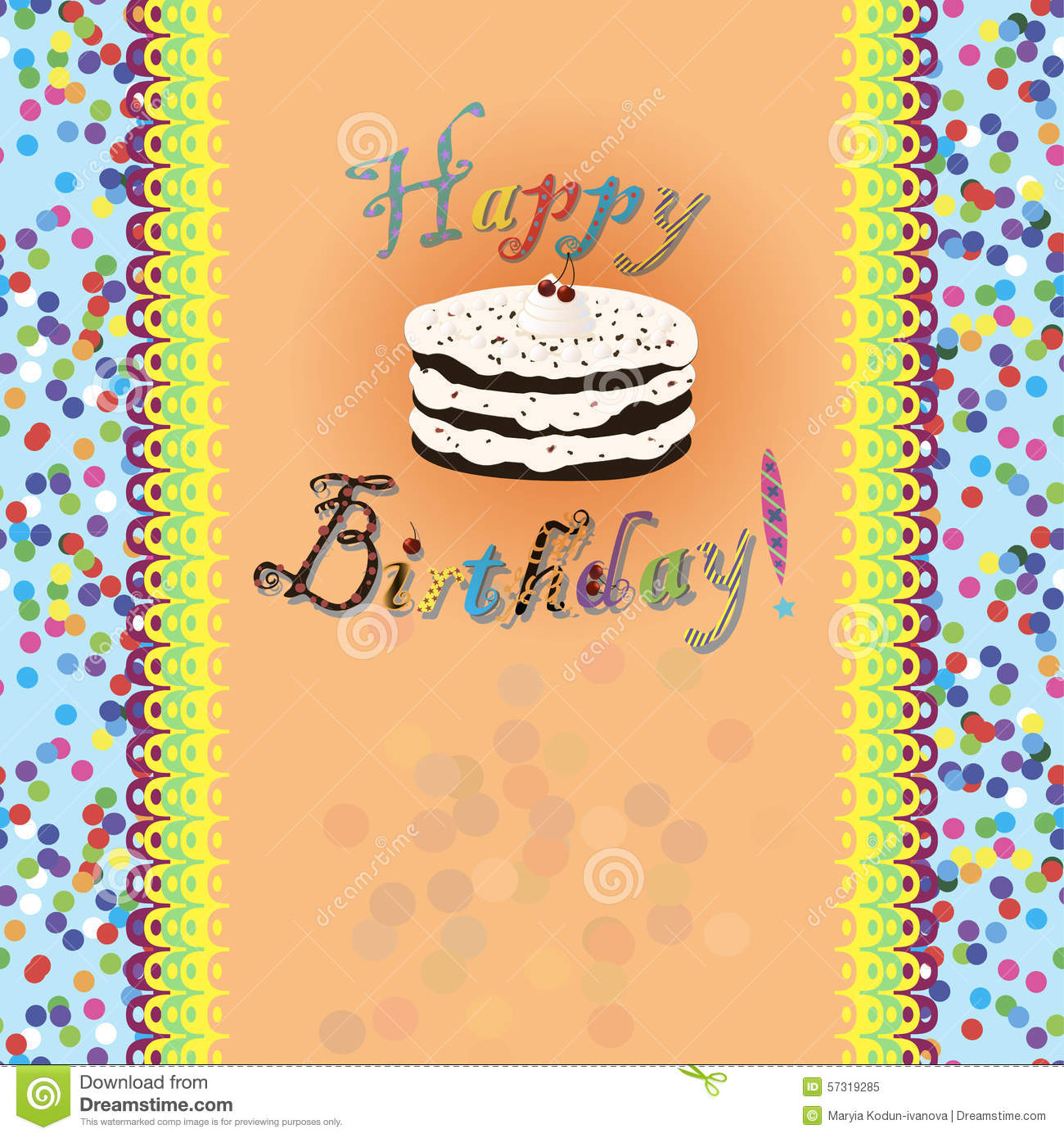 Birthday Card With Birthday Cake And Text Stock Vector