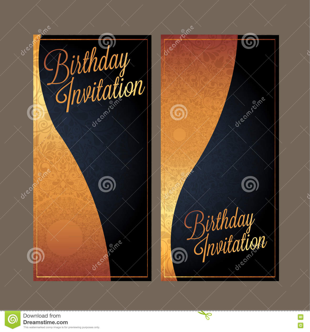 The Birthday Card With Black Color Background Design Stock Vector
