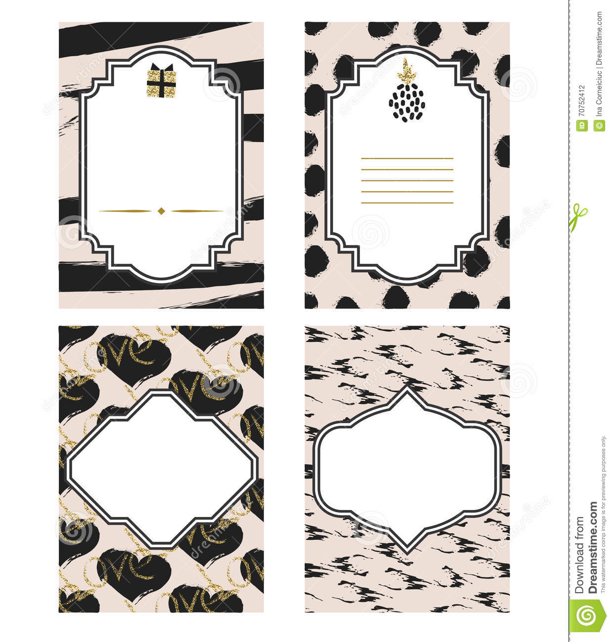 Birthday Card Black And White Template Set Gold Glitter Details – Birthday Cards Black and White