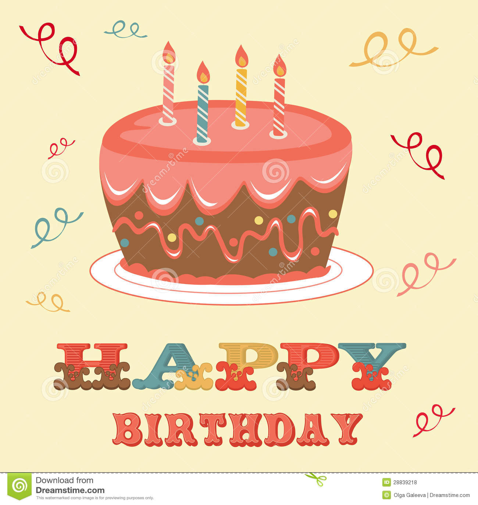 Birthday Card With Cake Royalty Free Stock Photos - Image ...