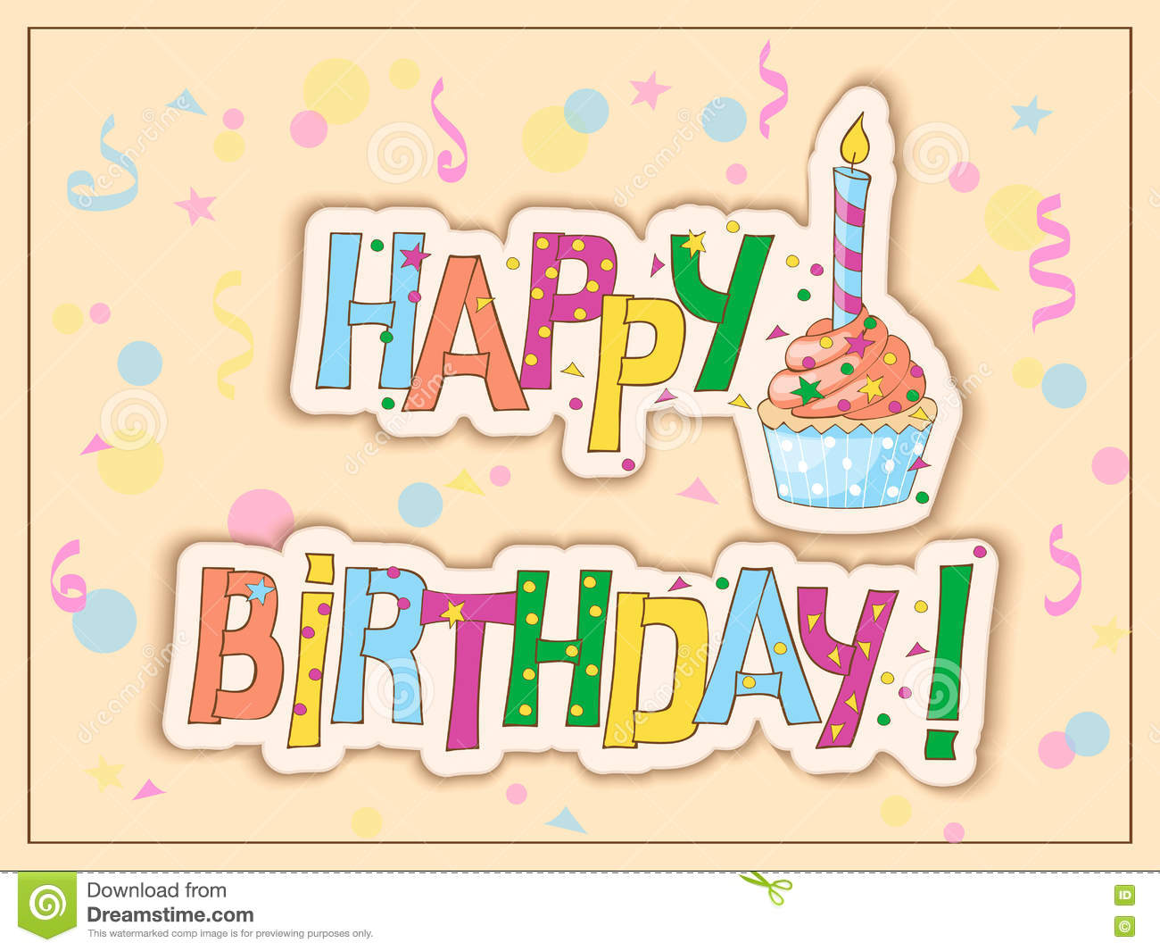 Birthday Card With Cake Candle And Hand Draw Text Vector – How to Draw a Birthday Card