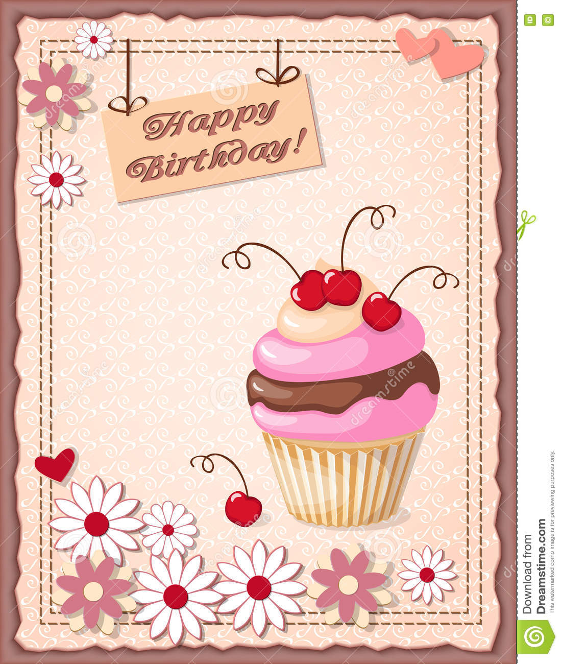 Birthday Card With Cake Cherry Hearts And Flowers Stock Vector