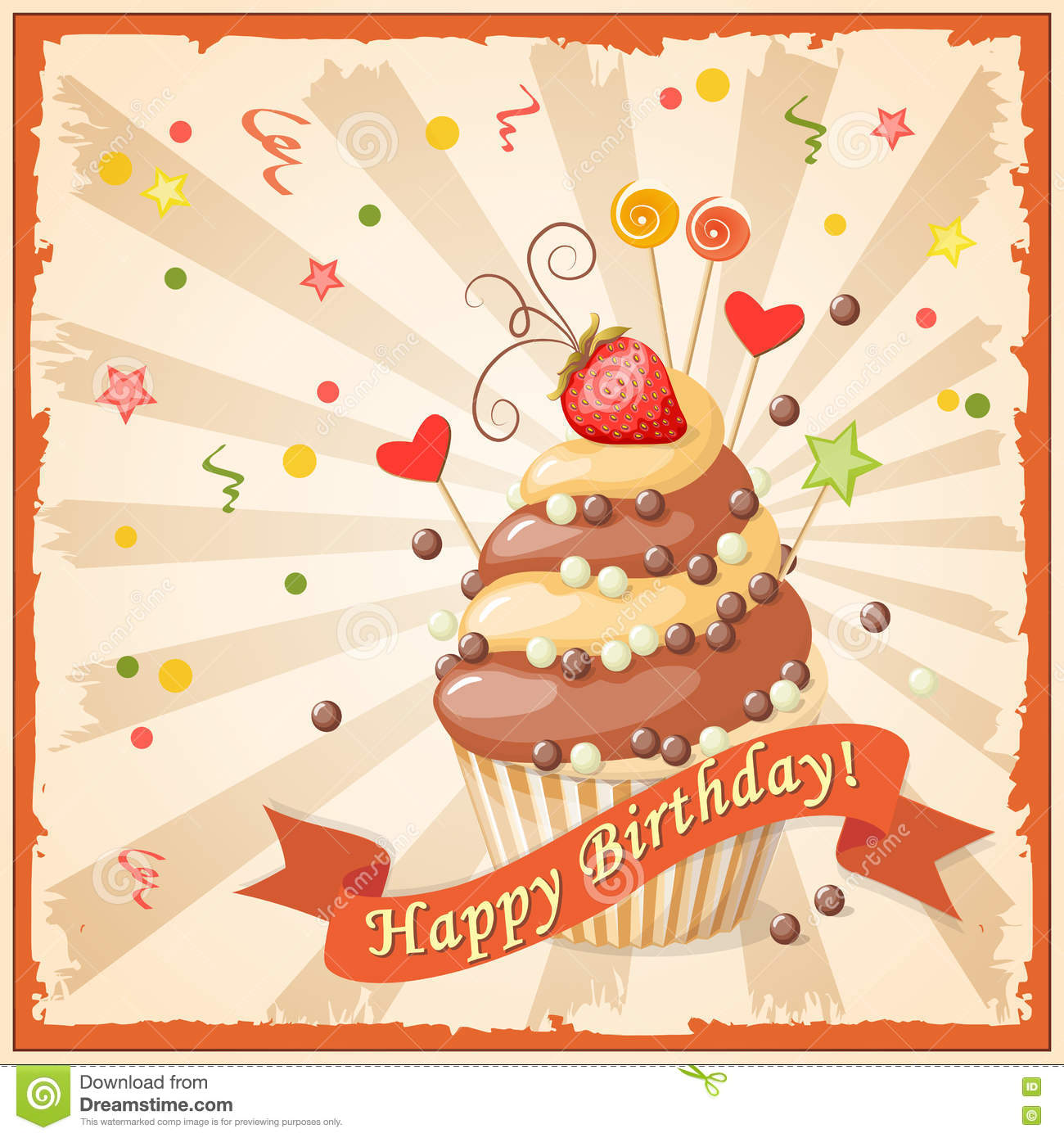 Birthday Card With Cake Ribbon And Strawberry Stock Vector
