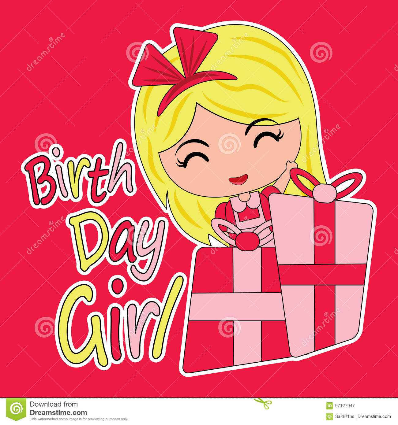 Birthday Card Cartoon With Cute Girl And Gift Boxes Suitable For Kid